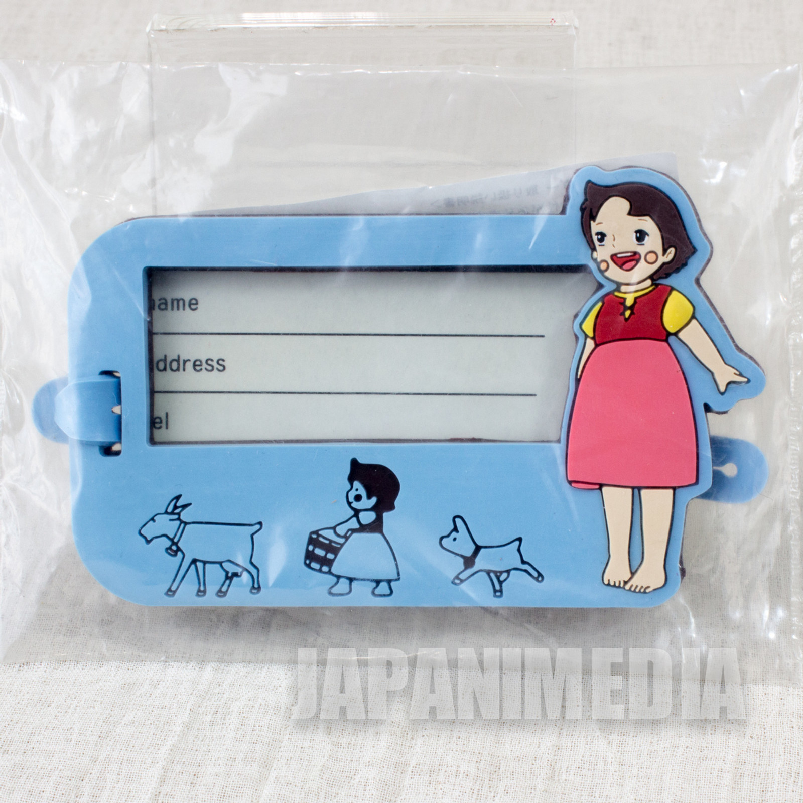 Heidi Girl of the Alps Rubber Name Plate Holder Blue JAPAN ANIME