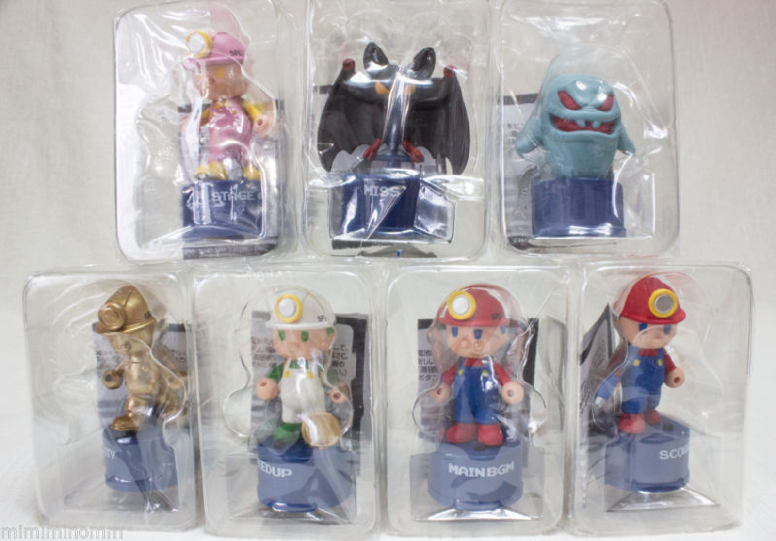 Set of 7 Spelunker Sound Bottle Cap Figure Collection Included Secret JAPAN NES