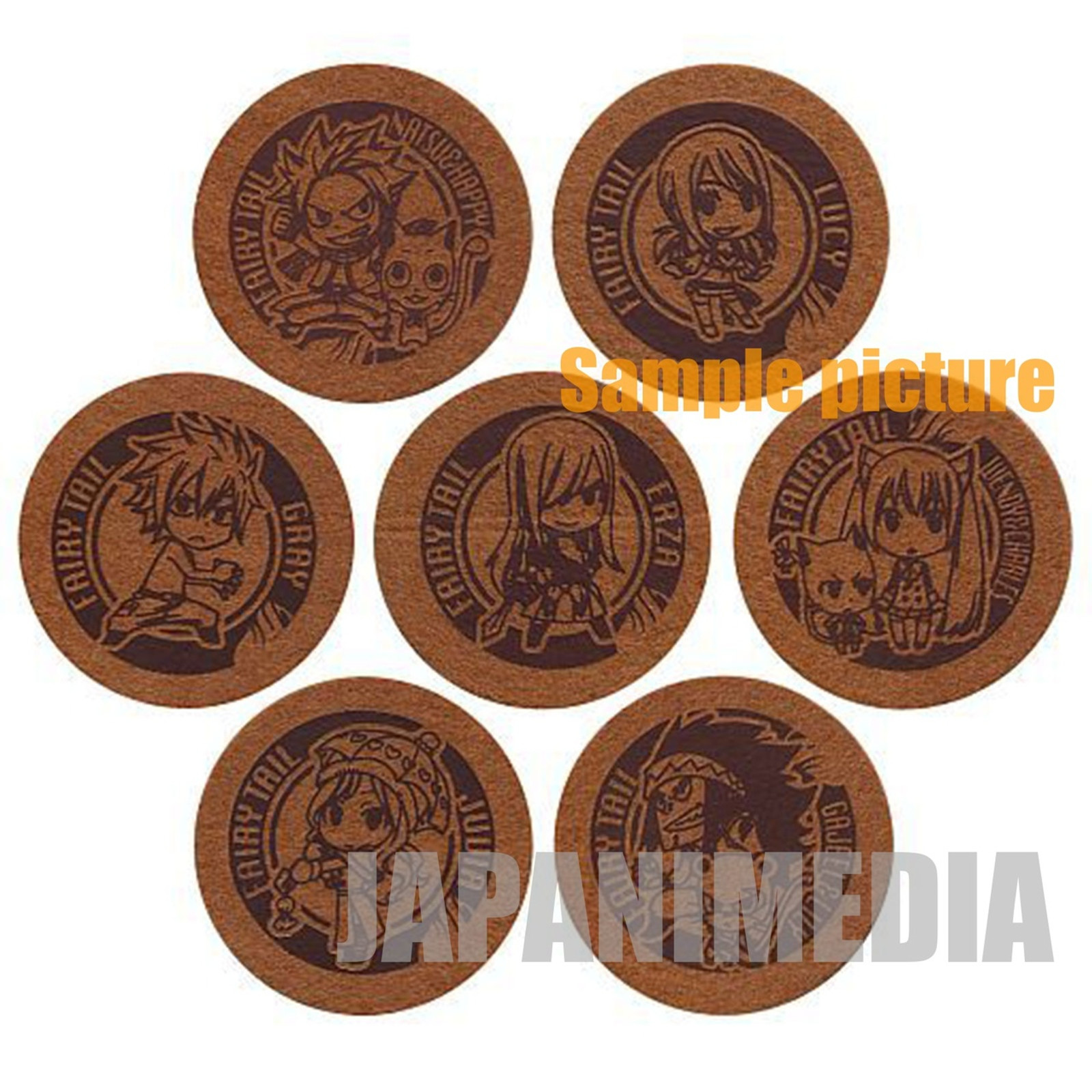 FAIRY TAIL Felt Coaster 7pc Set [Natsu / Lucy / Gray / Erza / Wendy / Juvia / Gajeel] JAPAN ANIME MANGA