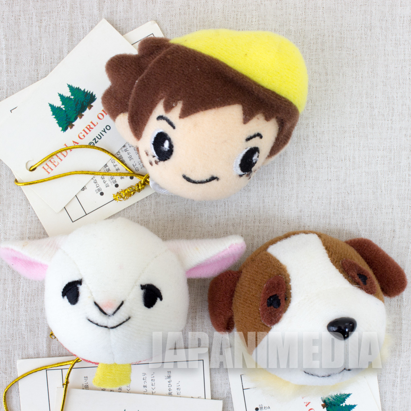 Heidi Girl of the Alps Peter + Josef  + Yuki Plush Doll Face Magnet 3pc Set JAPAN ANIME