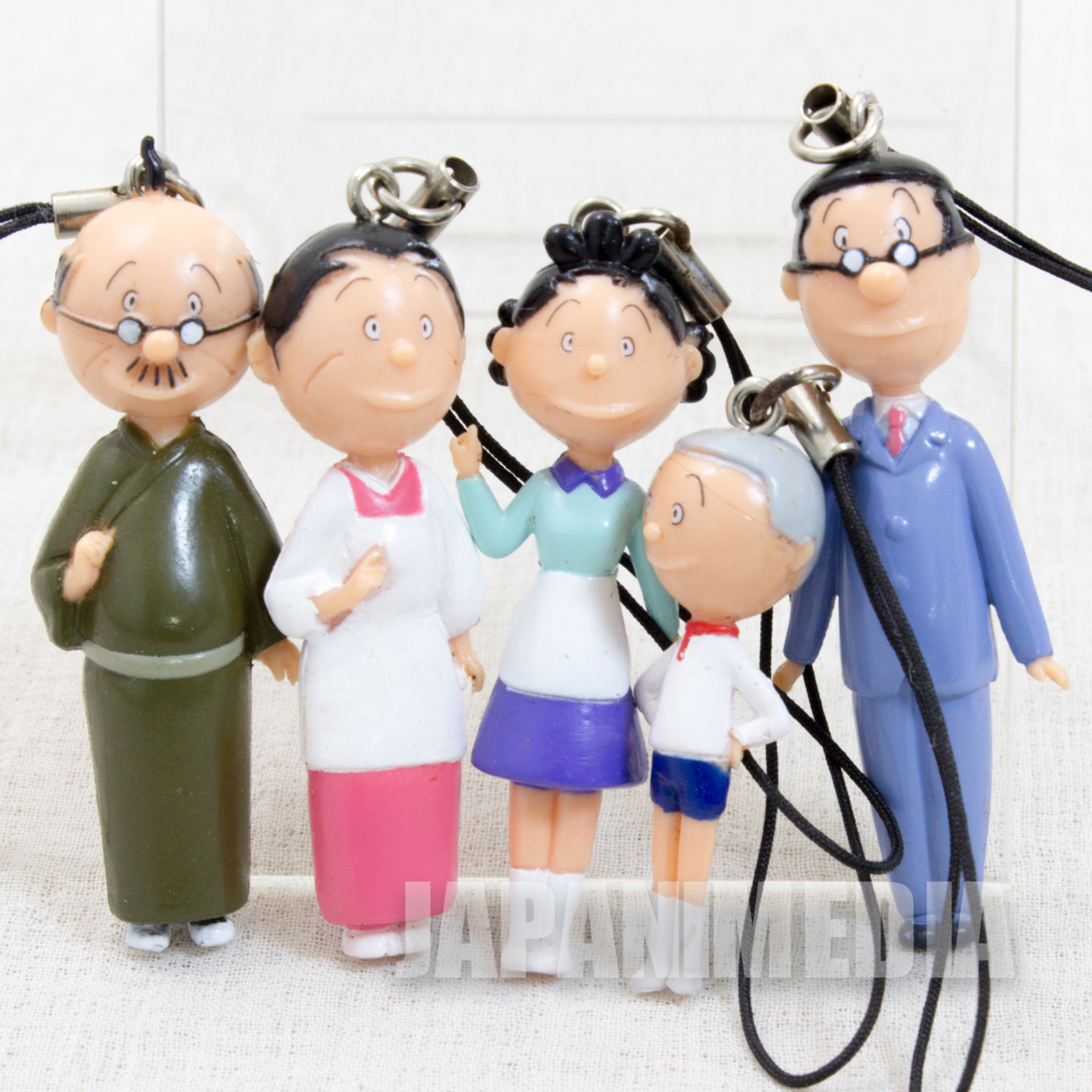 RARE! Sazae-san Mascot Figure Strap 5pc Set Sazae Katsuo Namihei Masuo Fune
