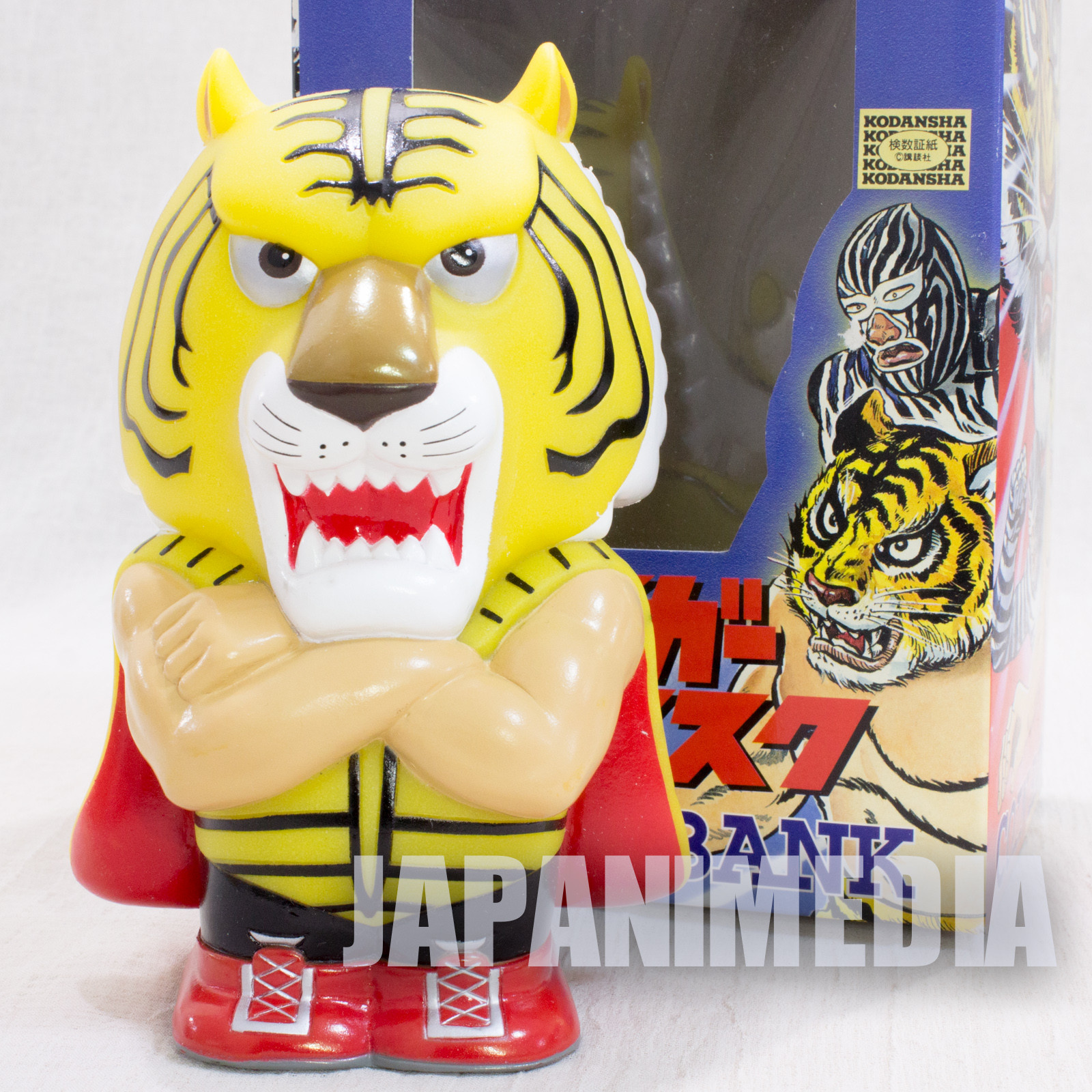 Tiger Mask Soft Vinyl Figure Coin Bank JAPAN ANIME MANGA Pro Wrestling