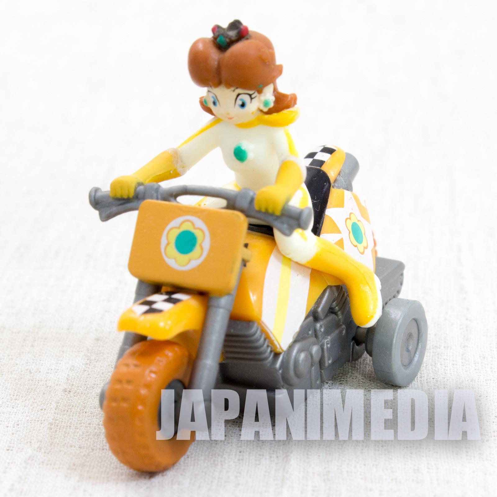 Super Mario Kart Wii Daisy Mini Figure Pull Back Car Bike JAPAN NINTENDO