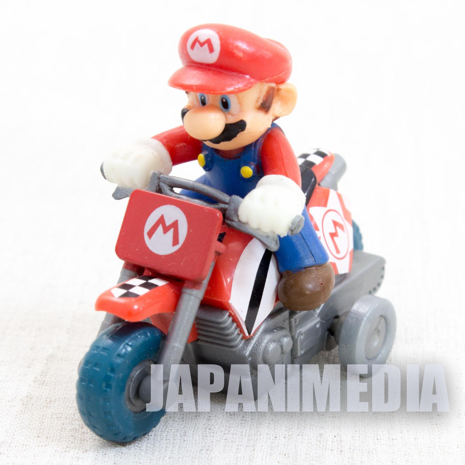 Super Mario Kart Wii MARIO Mini Figure Pull Back Car Bike JAPAN NINTENDO