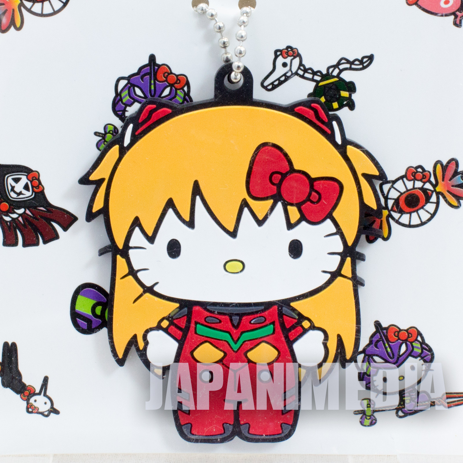 Evangelion x Hello Kitty Asuka Langley Rubber Mascot Ballchain JAPAN ANIME MANGA