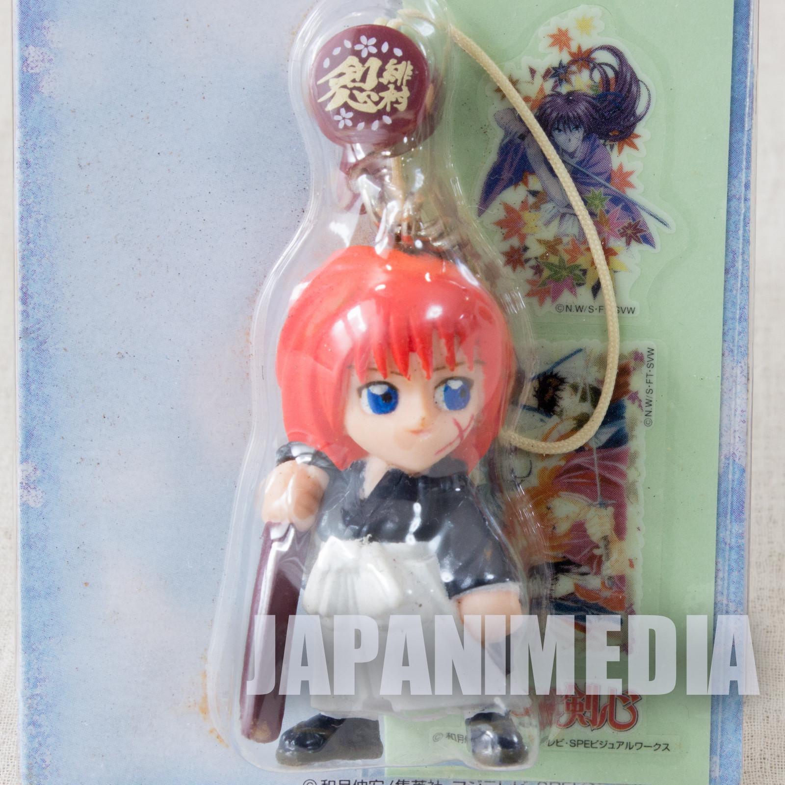 Retro RARE! Rurouni Kenshin Kenshin Himura Figure Strap w/Stickers JAPAN