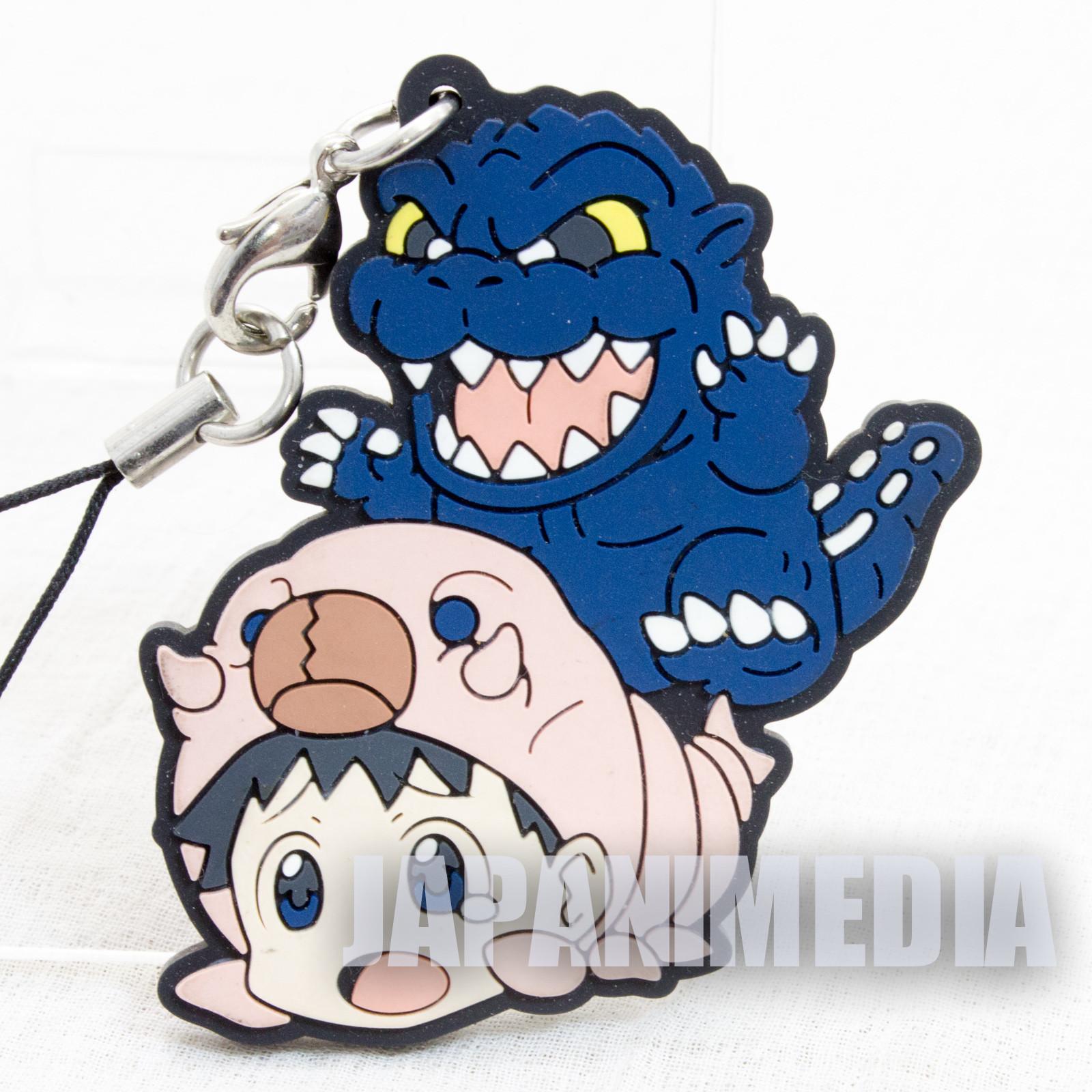 Evangelion Shinji Ikari x Godzilla Mascot Rubber Strap JAPAN