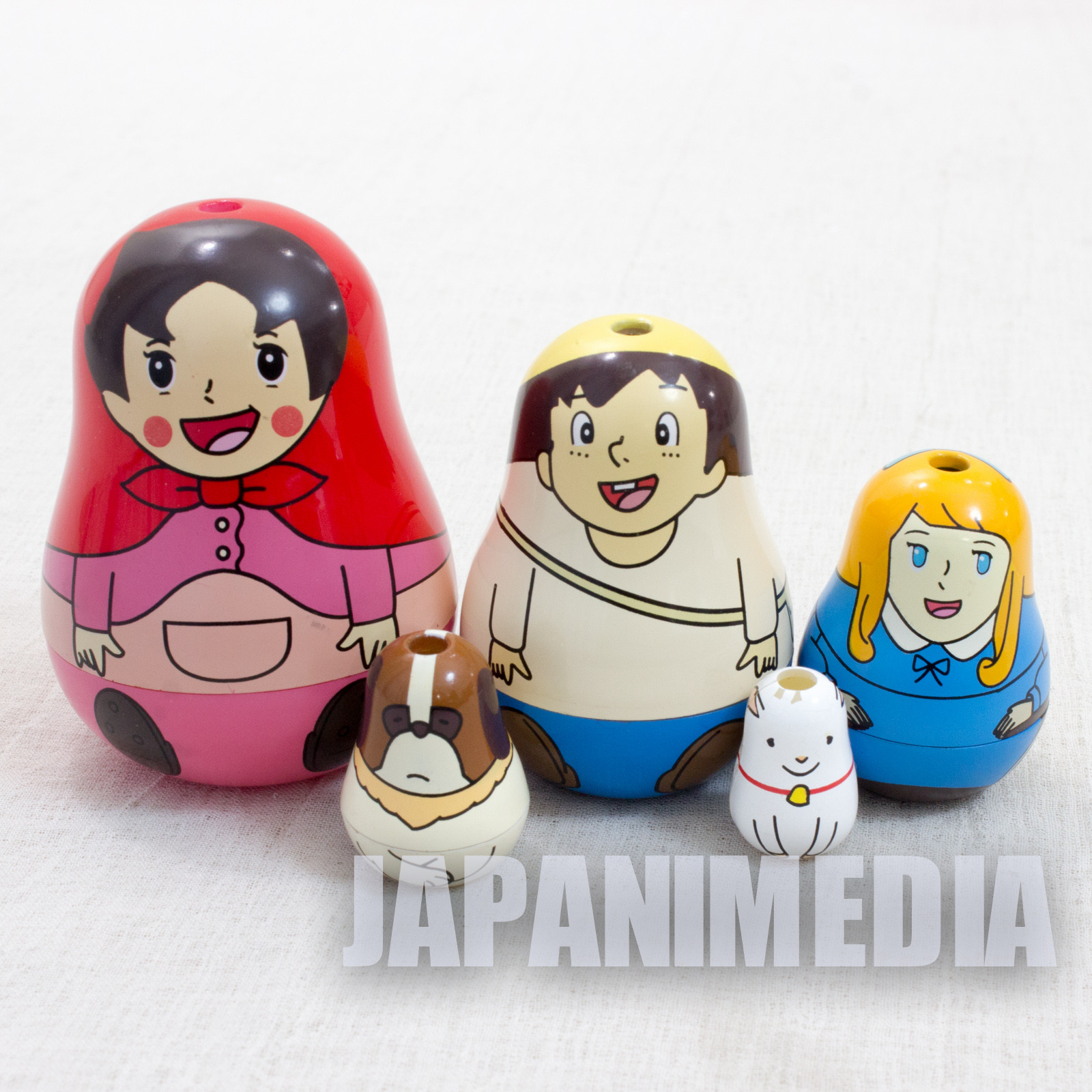Retro RARE Heidi Girl of the Alps Heidi Matryoshka [Heidi/Peter/Clara/Josef/Yuki] JAPAN TOMY FIGURE.