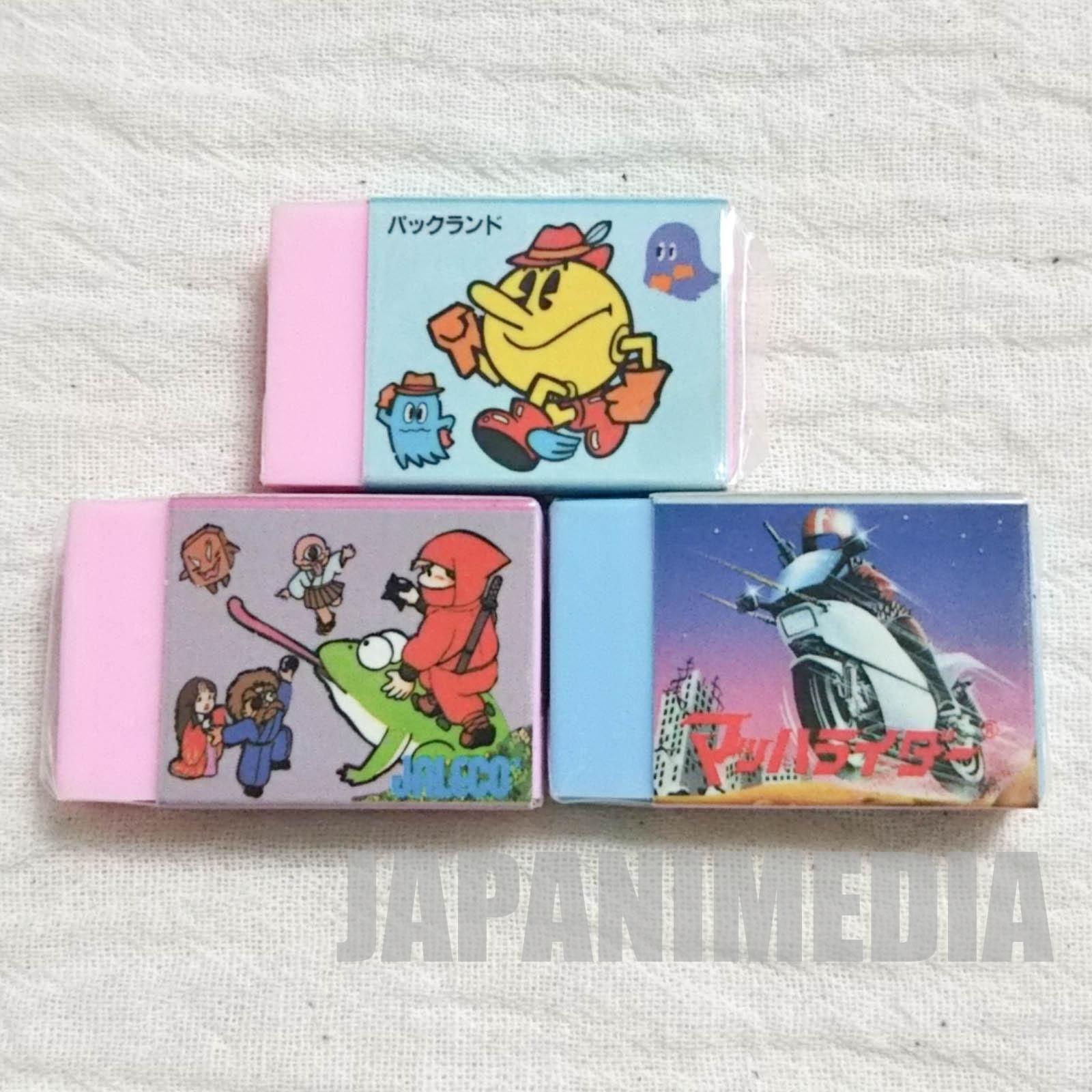 Retro RARE! Pac- Land / Ninja Jajamaru Kun / Mach rider Eraser  3pc JAPAN NES FAMICOM