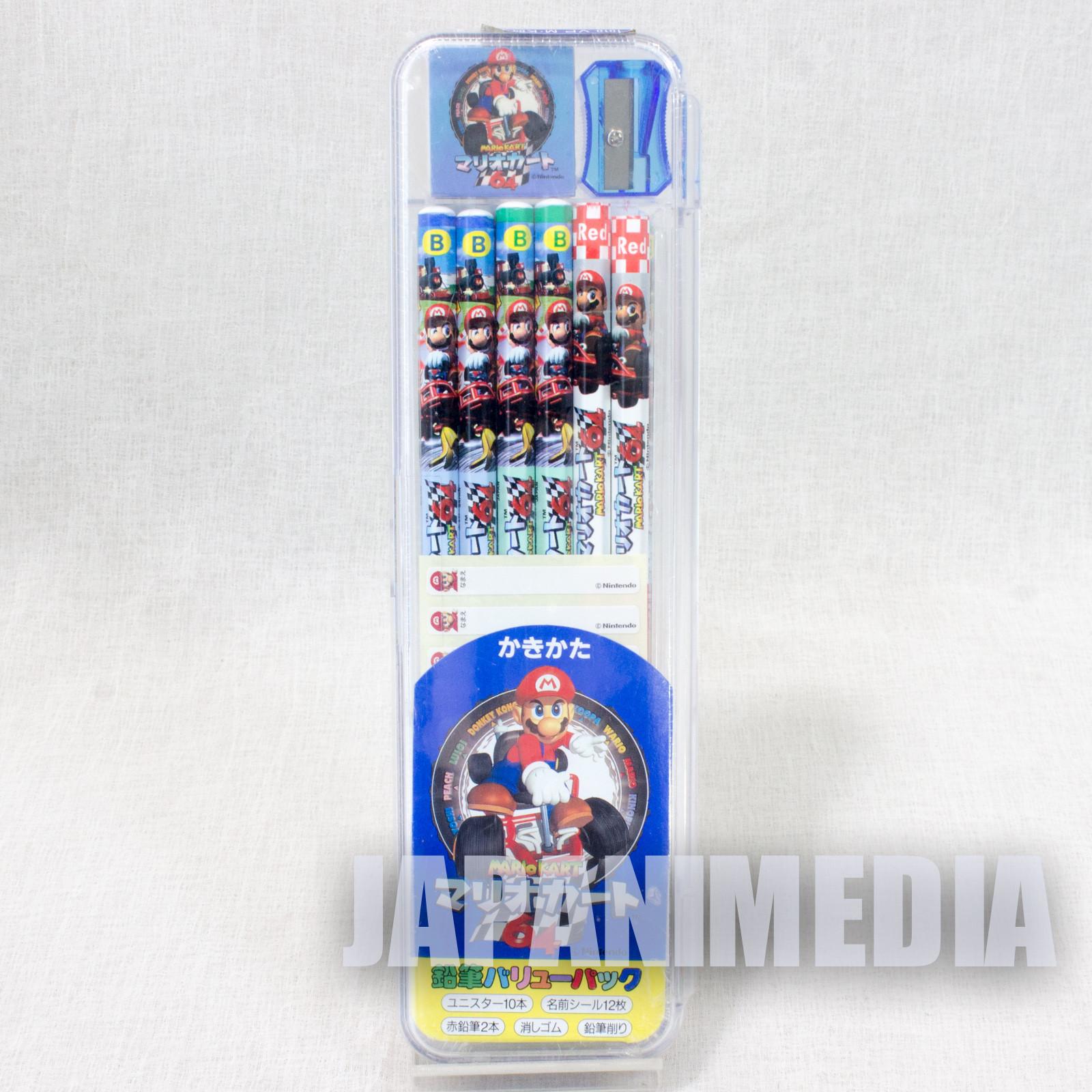 Retro Super Mario Kart 64 Pencli & Sharpener & Eraser Set JAPAN NINTENDO