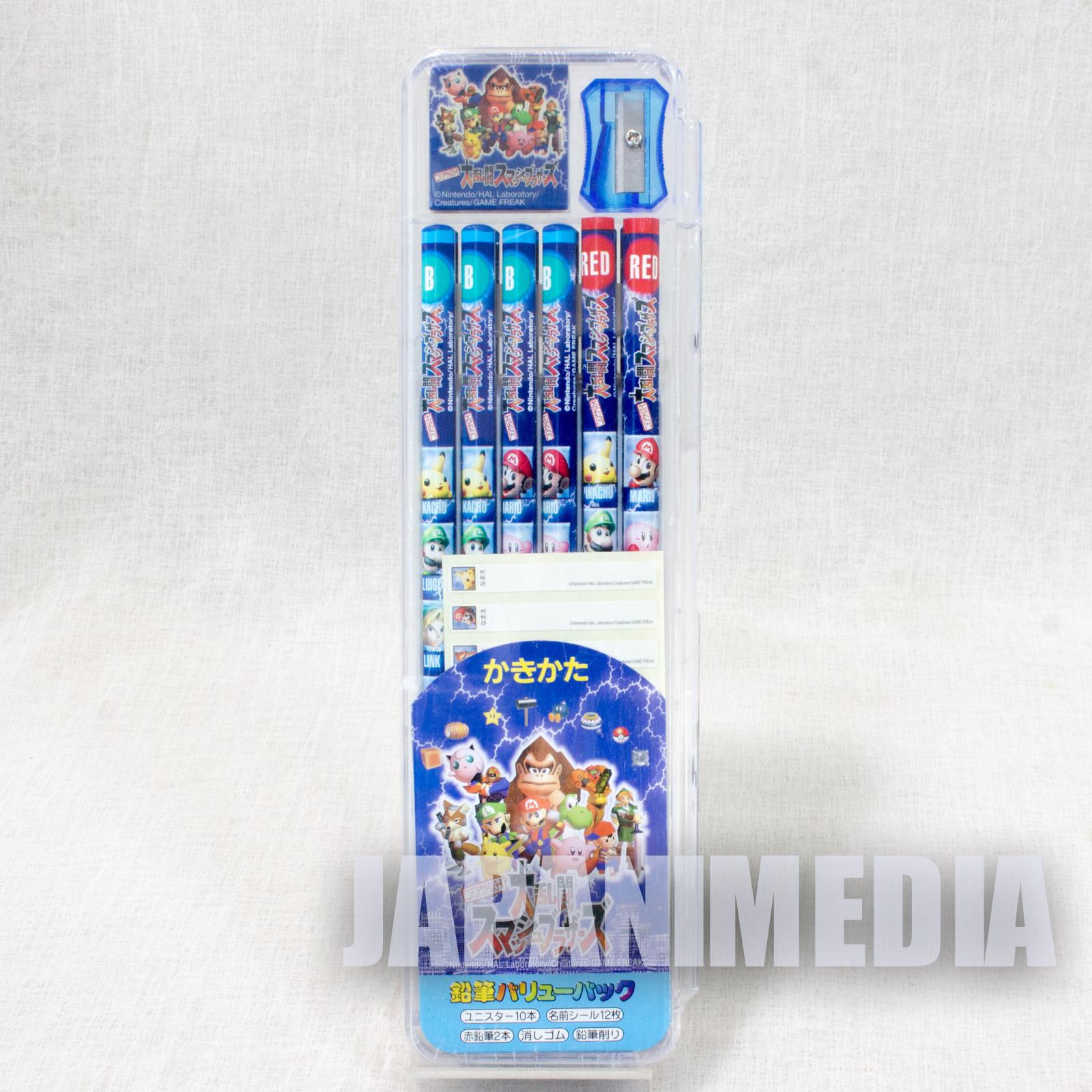 Super Smash Brothers Pencli & Sharpener & Eraser Set JAPAN NINTENDO