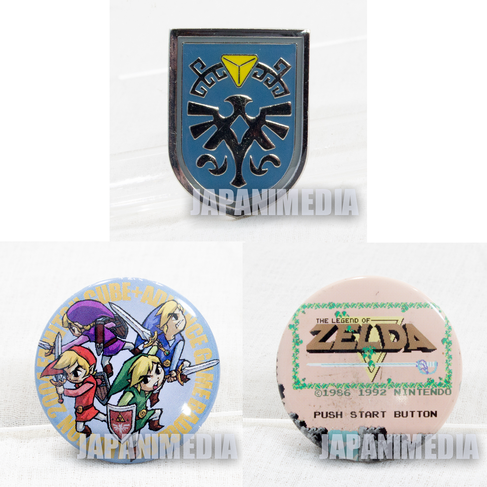 The Legend of Zelda Pins Badge 3pc set Nintendo JAPAN FAMICOM NES