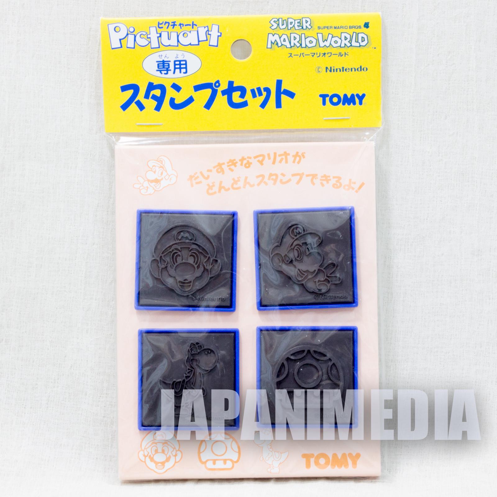 Retro Super Mario World Pictuart Stamp 4pc Set TOMY SNES NINTENDO