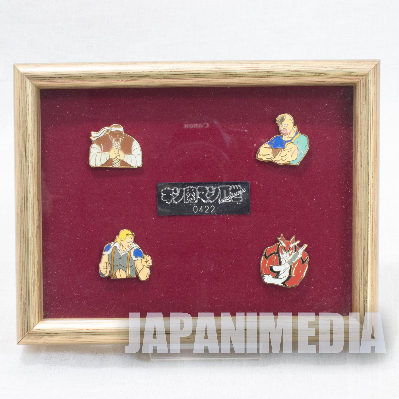 RARE! KINNIKUMAN 2nd Generations Pins 4pc Set w/Frame JAPAN ANIME