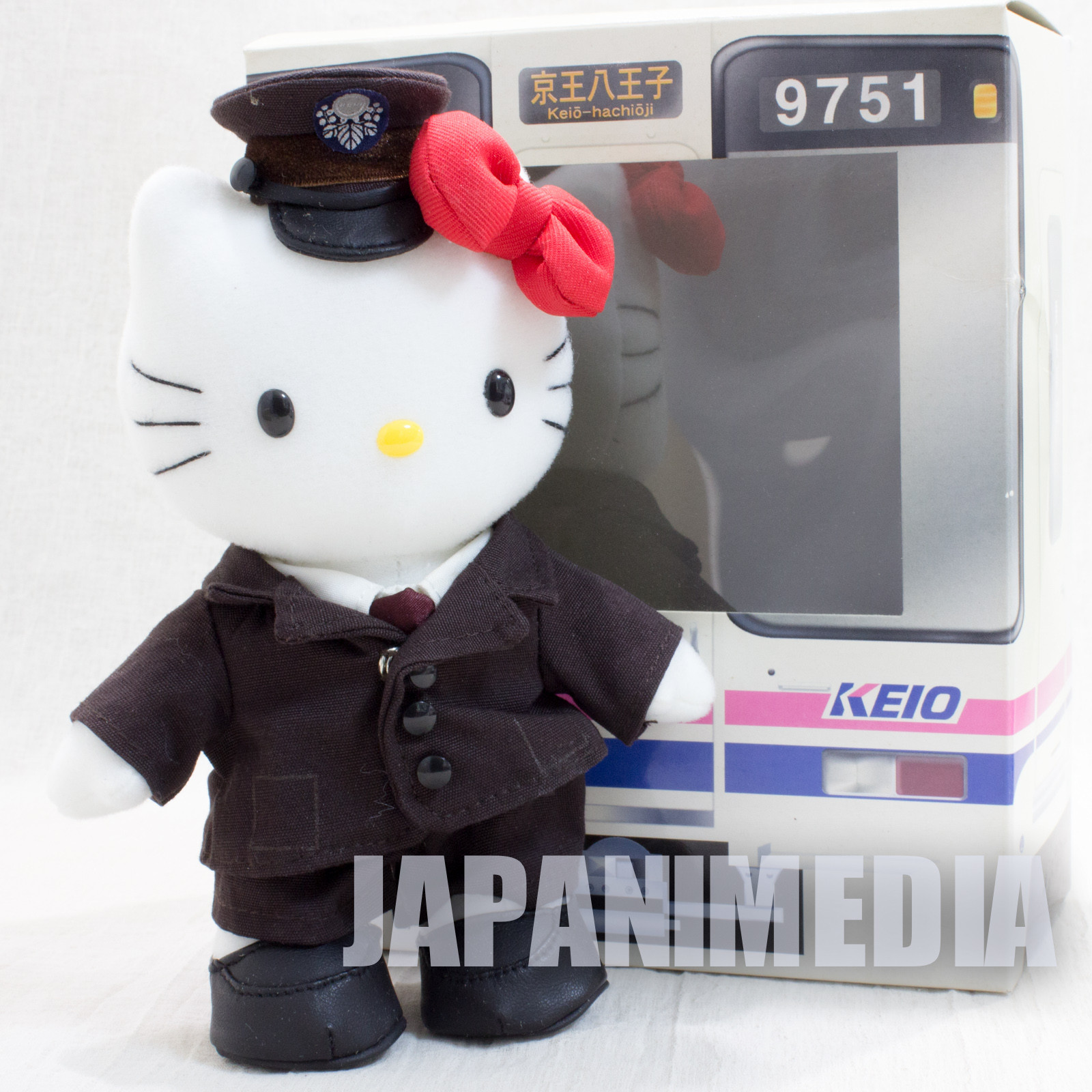 Hello Kitty Keio Electric Railway Costume Ver. Plush Doll Figure JAPAN SANRIO