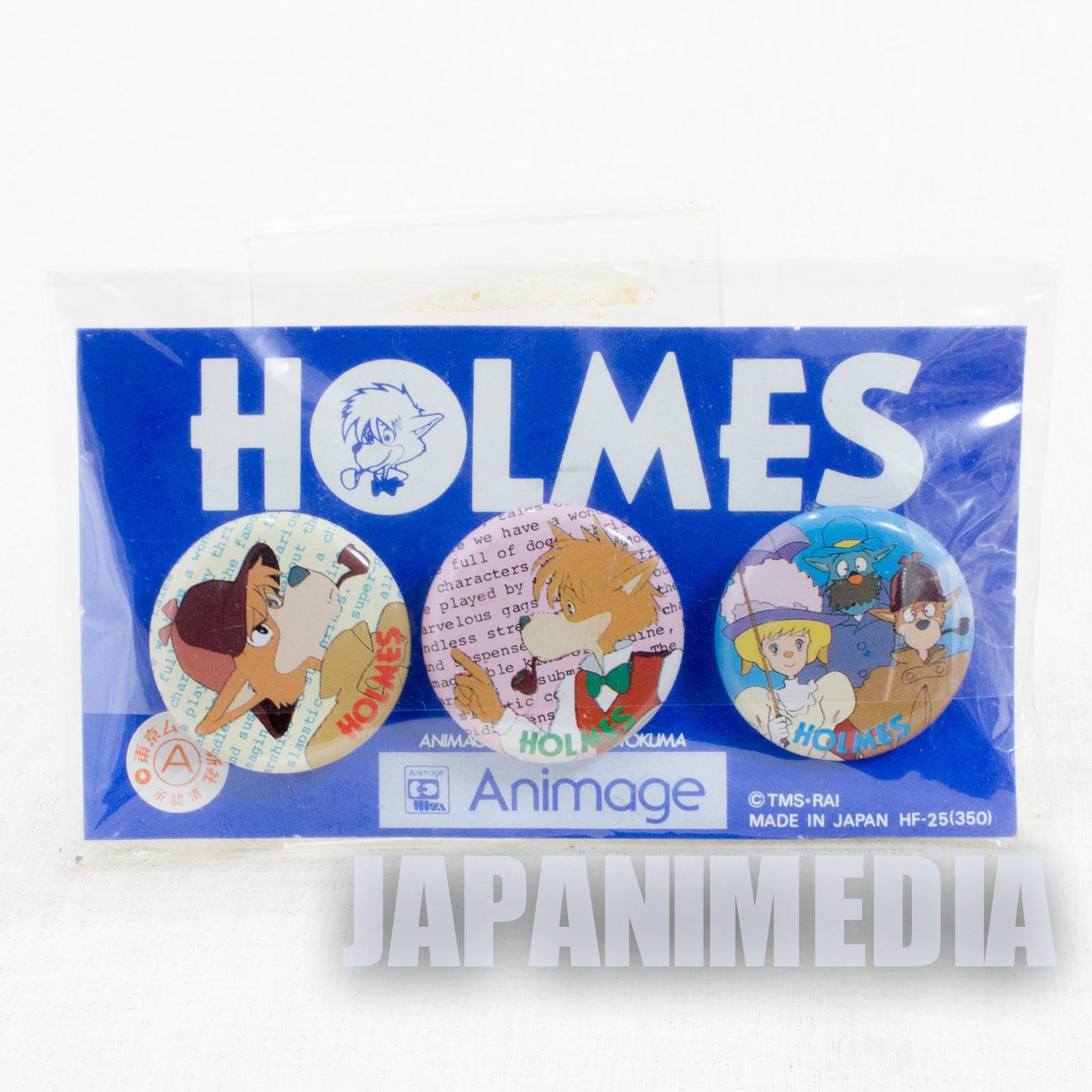 RARE!! The Detective Holmes Button badge 3pc Set Ghibli Hayao Miyazaki JAPAN