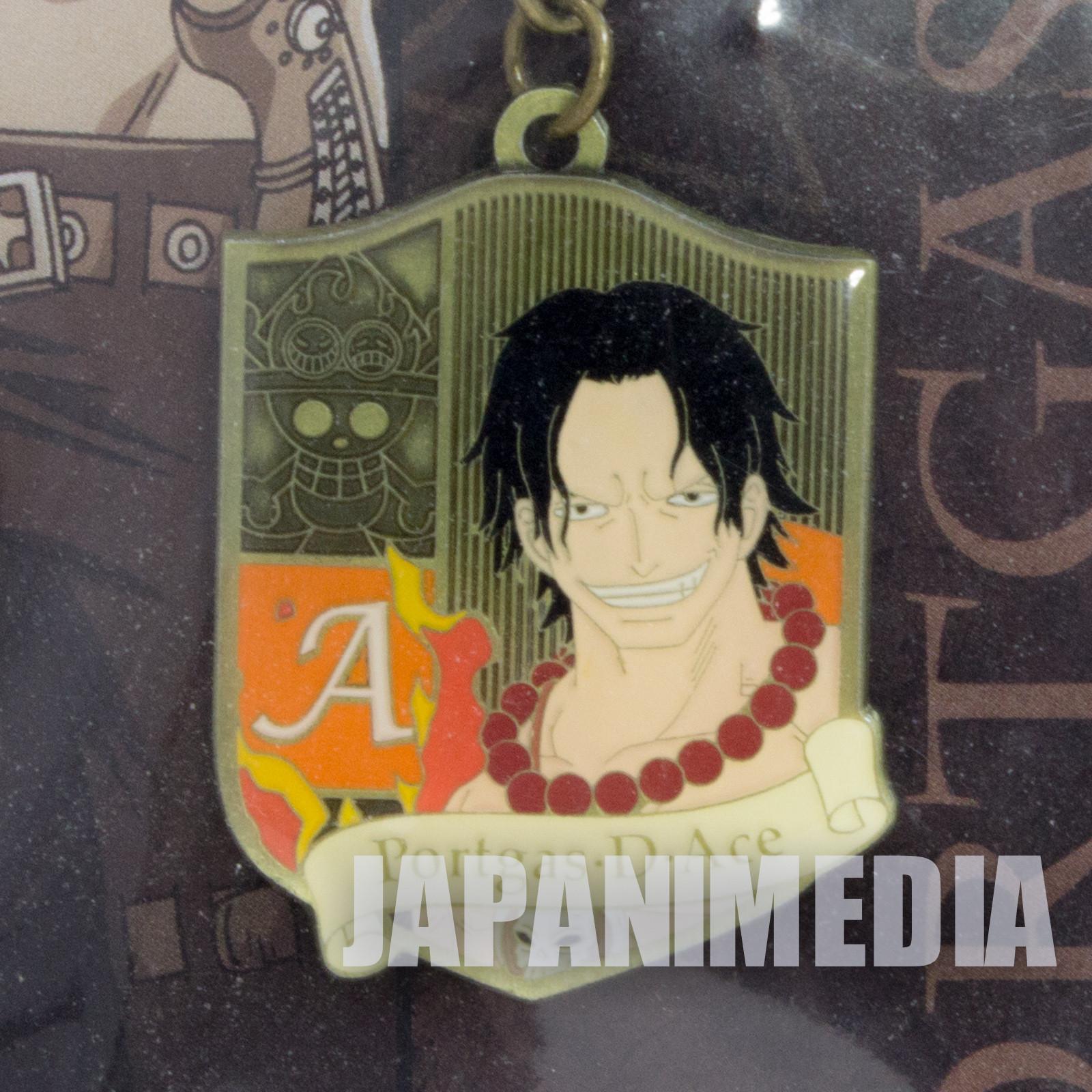 One Piece Portgas D Ace Metal Charm Keychain Shonen Jump JAPAN ANIME