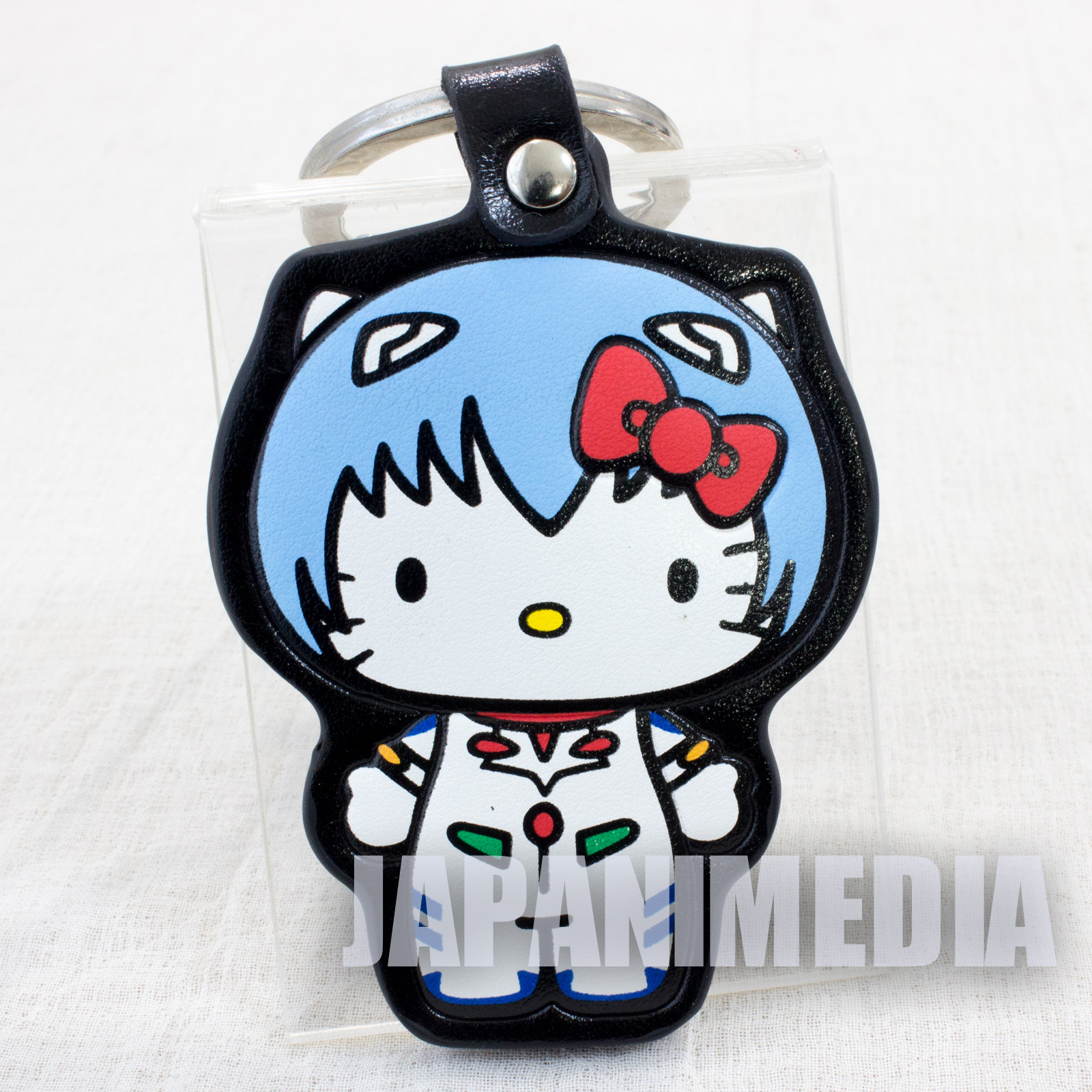 Evangelion x Hello Kitty Rei Ayanami Synthetic Leather Mascot Keychain Sanrio