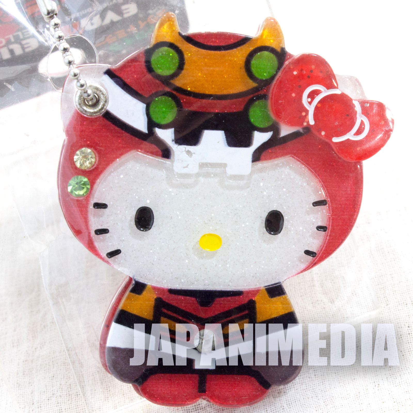 Evangelion x Hello Kitty EVA-02 Hand Mirror Ballchain Sanrio JAPAN