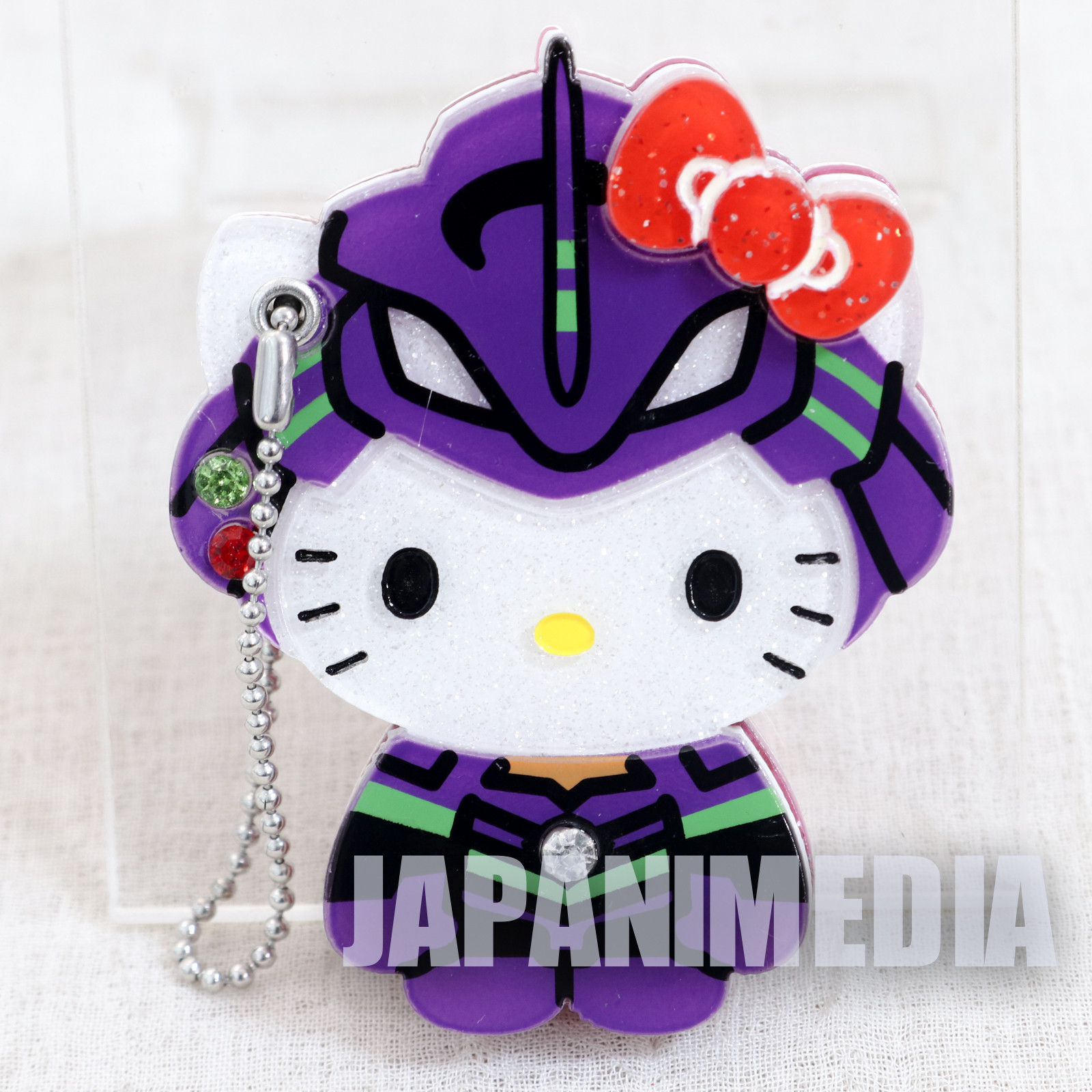 Evangelion x Hello Kitty EVA-01 Hand Mirror Ballchain Sanrio JAPAN