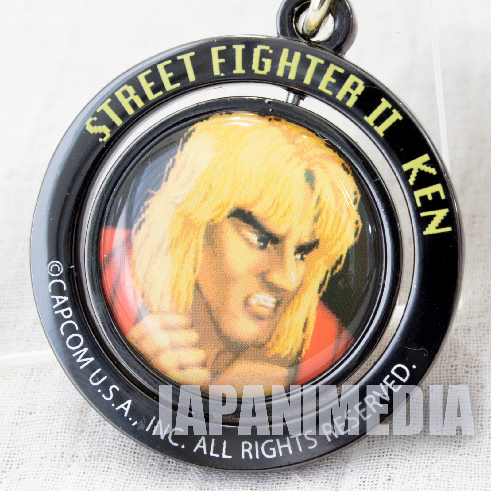 Street Fighter 2 Ken Turn Metal Mascot Keychain Capcom Character JAPAN GAME