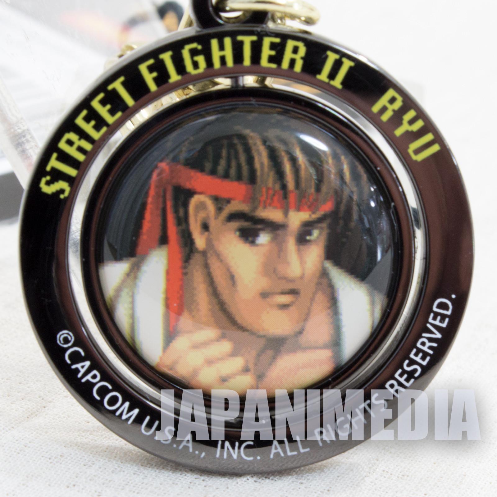 Street Fighter 2 Ryu Turn Metal Mascot Keychain Capcom Character JAPAN