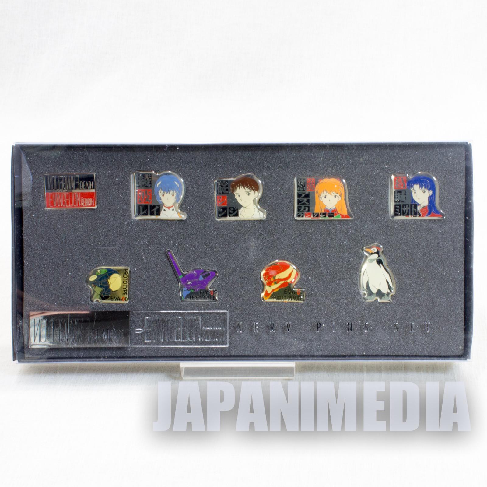 Evangelion Metal Pins 9pc Set Shinji Asuka Rei Misato Penpen EVA-00 01 02
