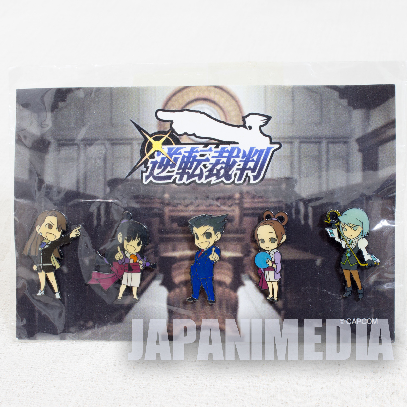 Ace Attorney Gyakuten Saiban Pins 5pc set [Ryuichi Naruhodo / Mayoi / Chihiro / Harumi / Karuma Mei]  Capcom Phoenix Wright