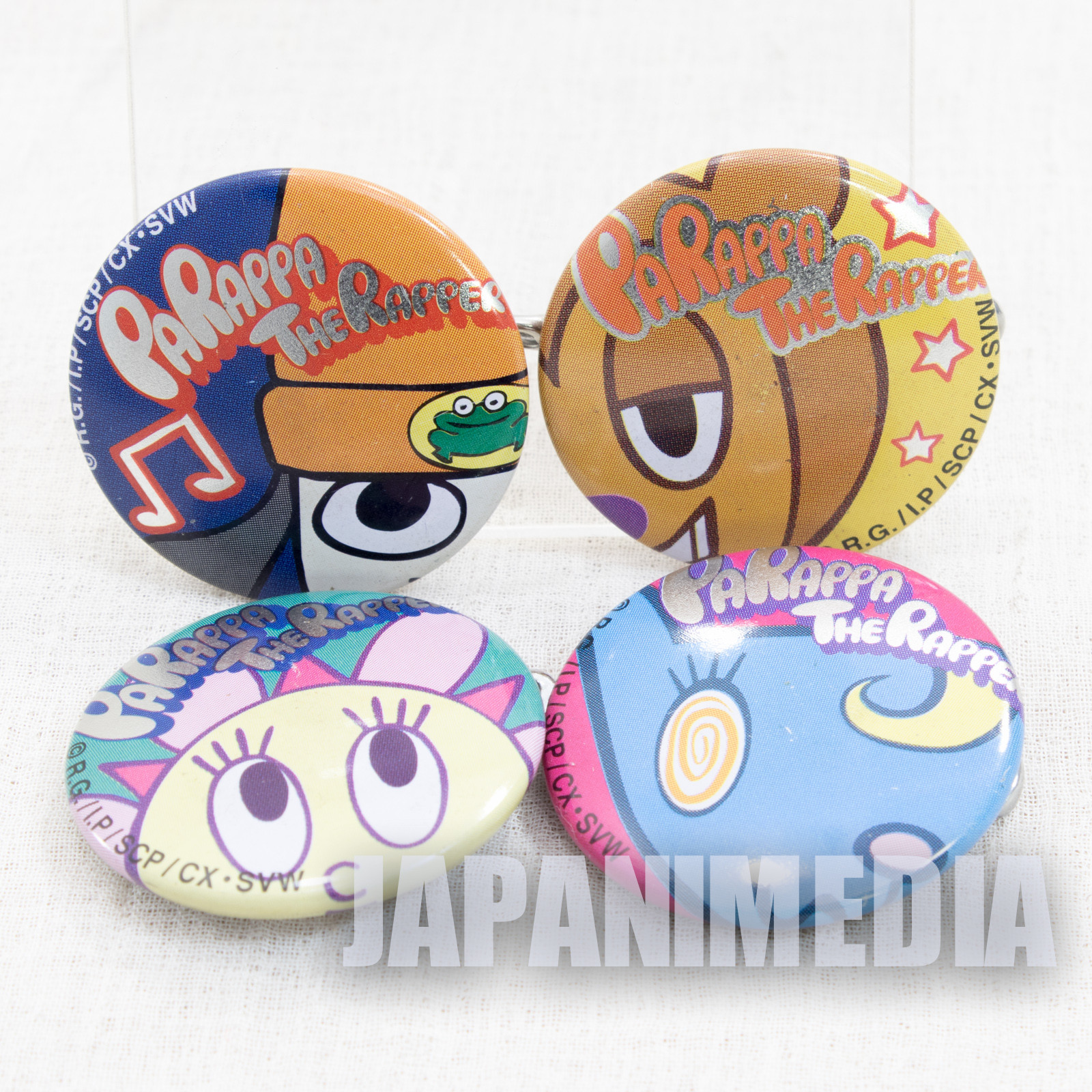 Parappa The Rapper Button badge 4pc set [Parappa / Sunny Funny / PJ Berri / Katy Kat] JAPAN GAME