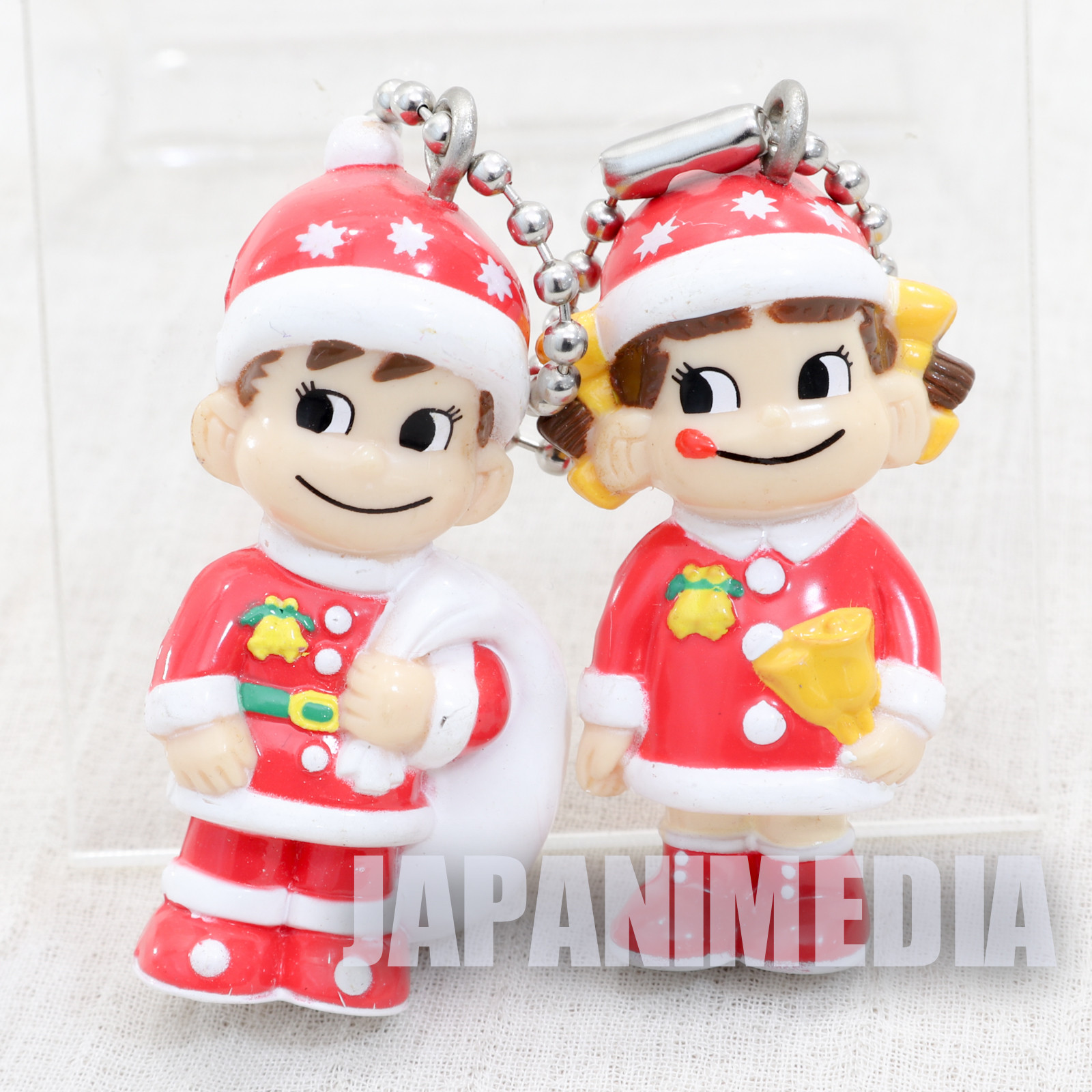 Milky Peko-chan Poko-chan Figure w/Ballchain Christmas Santa FUJIYA JAPAN ANIME