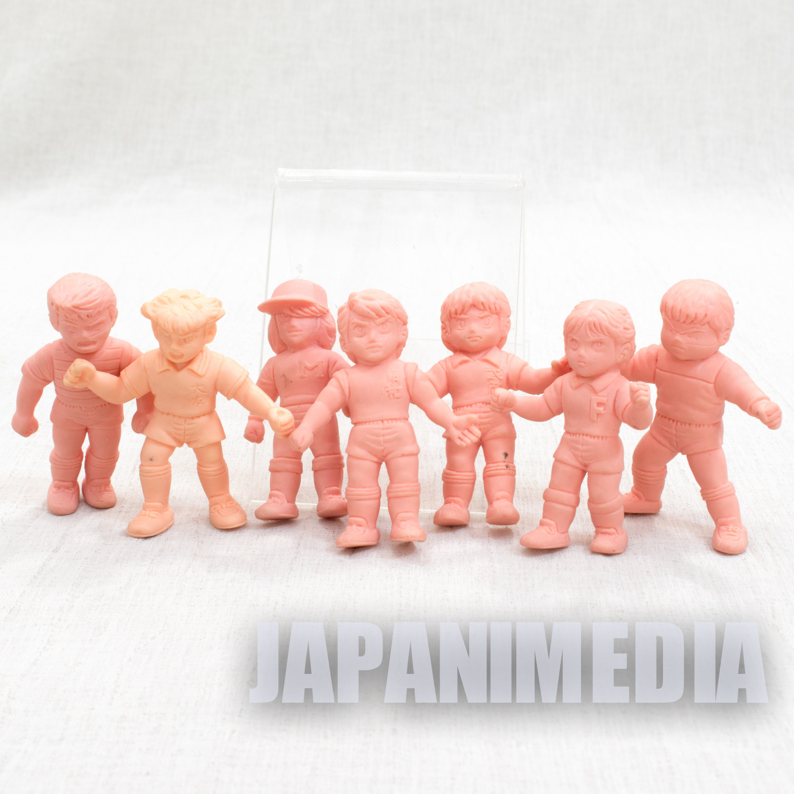 Retro Captain Tsubasa Mini Rubber Figure 7pc Set Toho Team etc JAPAN