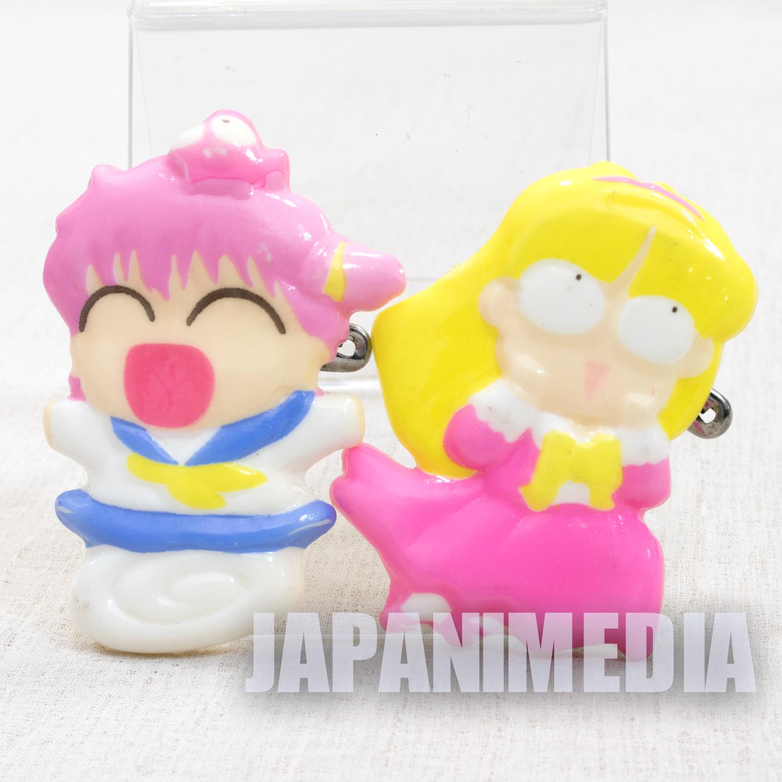 RARE! Goldfish Warning! Wapiko & Chitose Fujinomiya Plastic Button Badge 2pc Set JAPAN ANIME MANGA