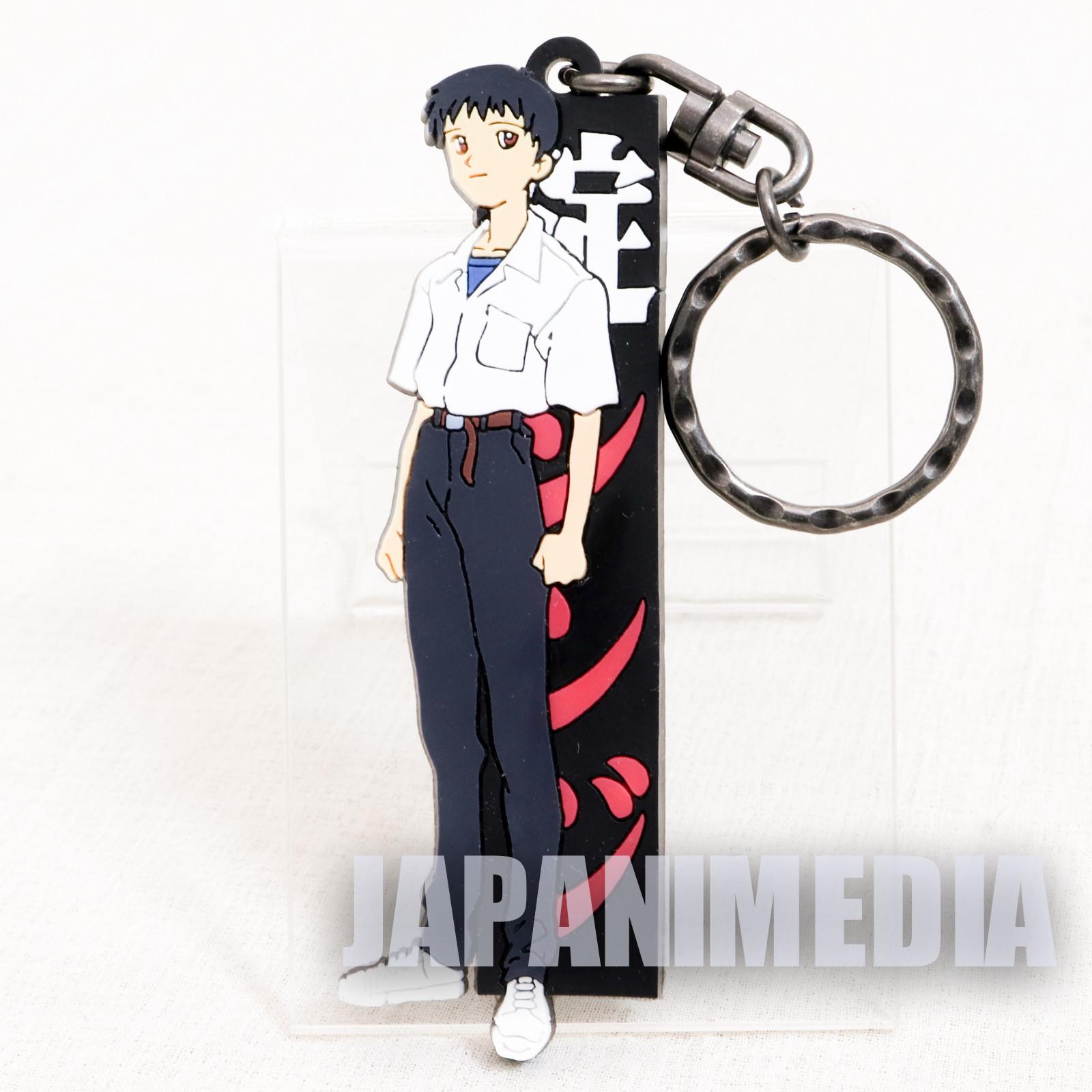 Retro RARE Evangelion Shinji Ikari School Uniform Rubber Mascot Keychain JAPAN