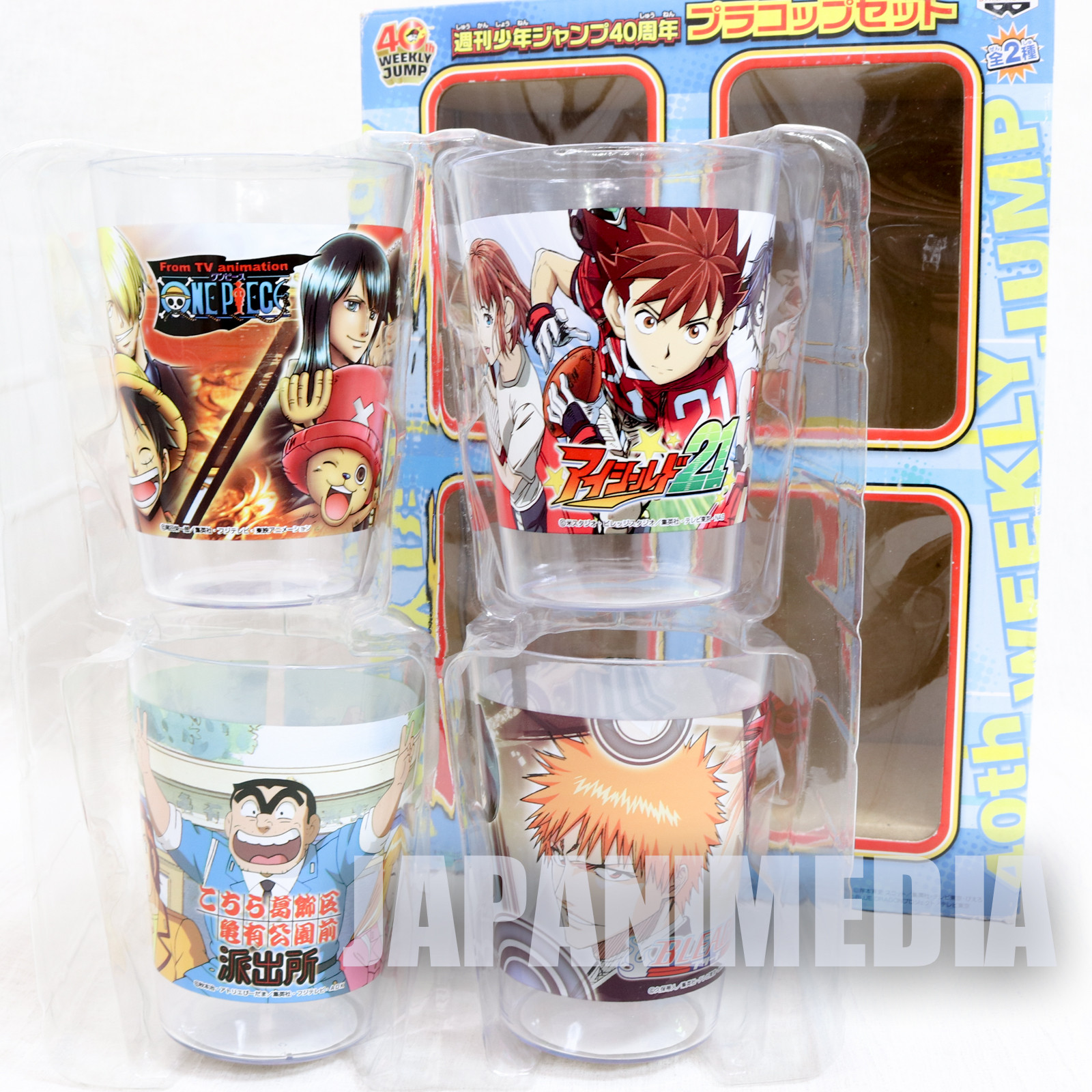 Shonen Jump 40th Anniversary Plastic Cup 4pc Set One Piece Bleach Eyeshield 21