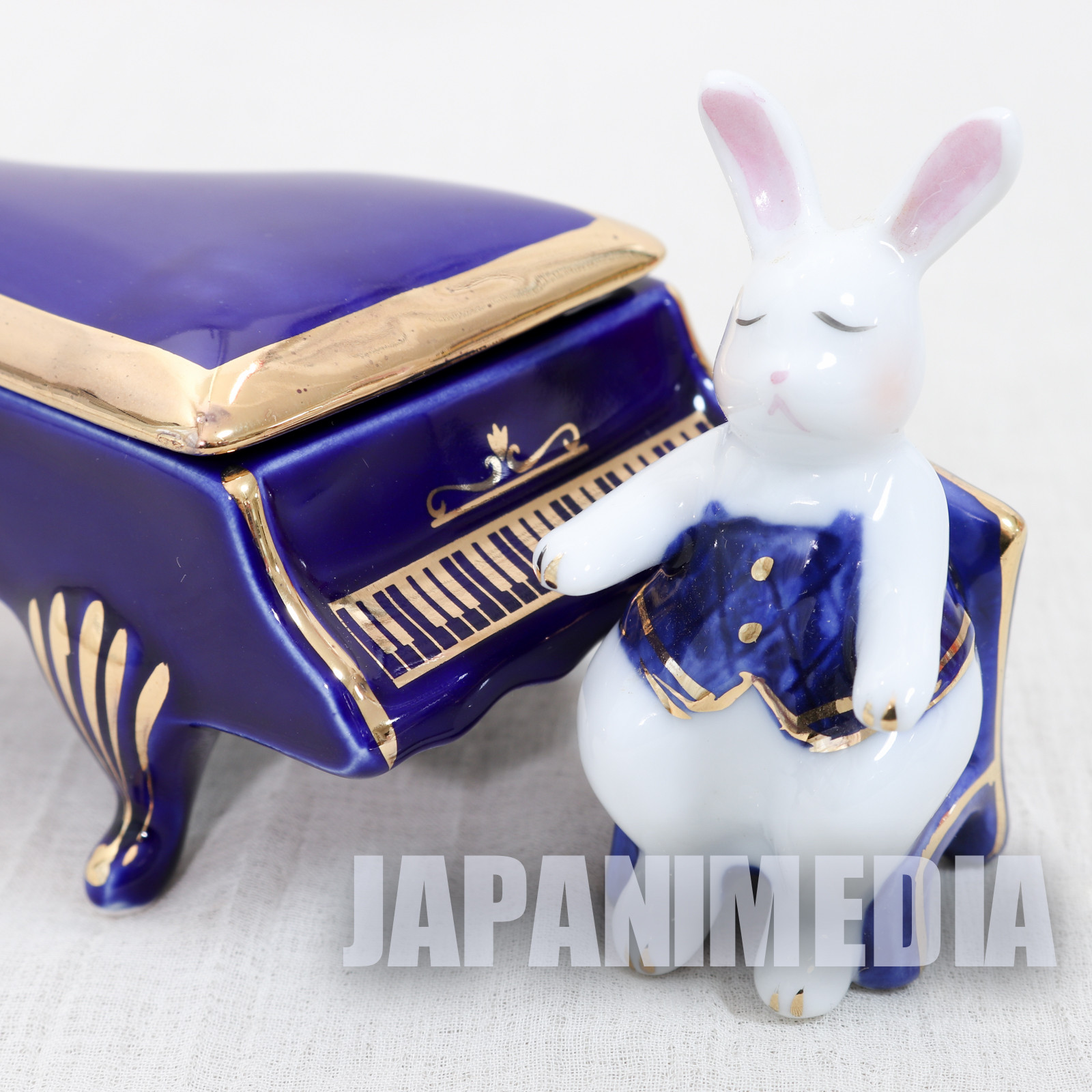 Dolly's Rabbit Piano & Pianist set Porcelain Figure Accessory Case JAPAN NAKANO