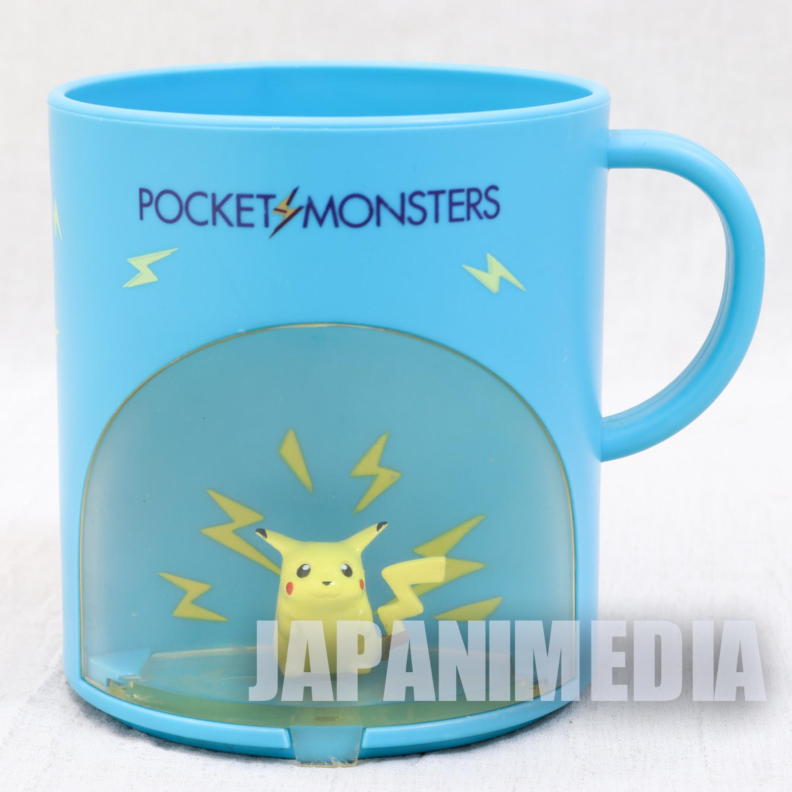 Retro RARE! Pokemon Pikachu Figure in Plastic Mug Banpresto JAPAN ANIME