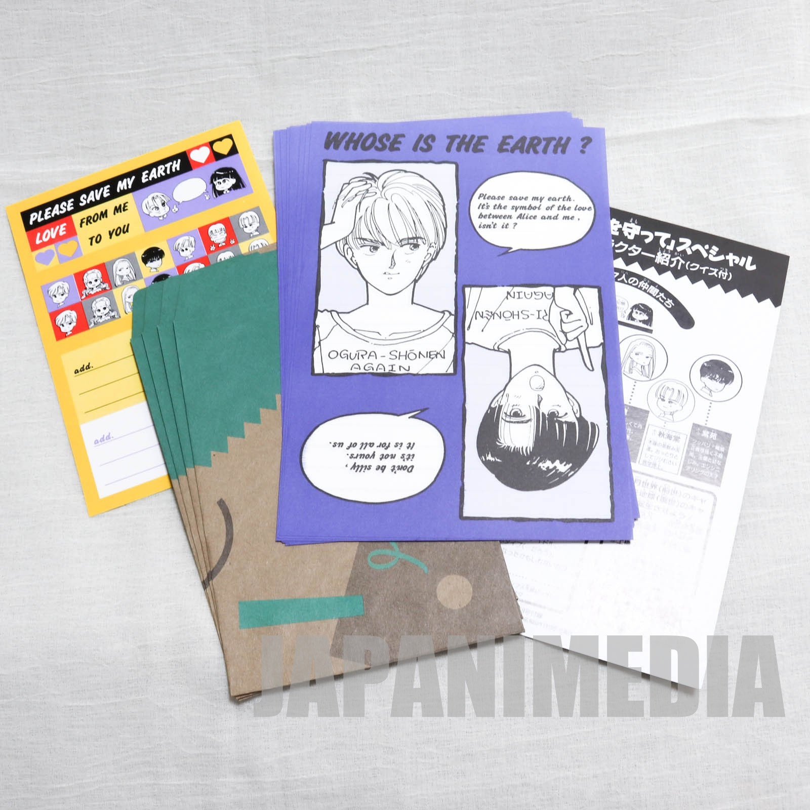 [Retro Rare!!] Please Save My Earth Letter writing set [Envelope 4pc + Paper 8pc + Sticker] JAPAN MANGA