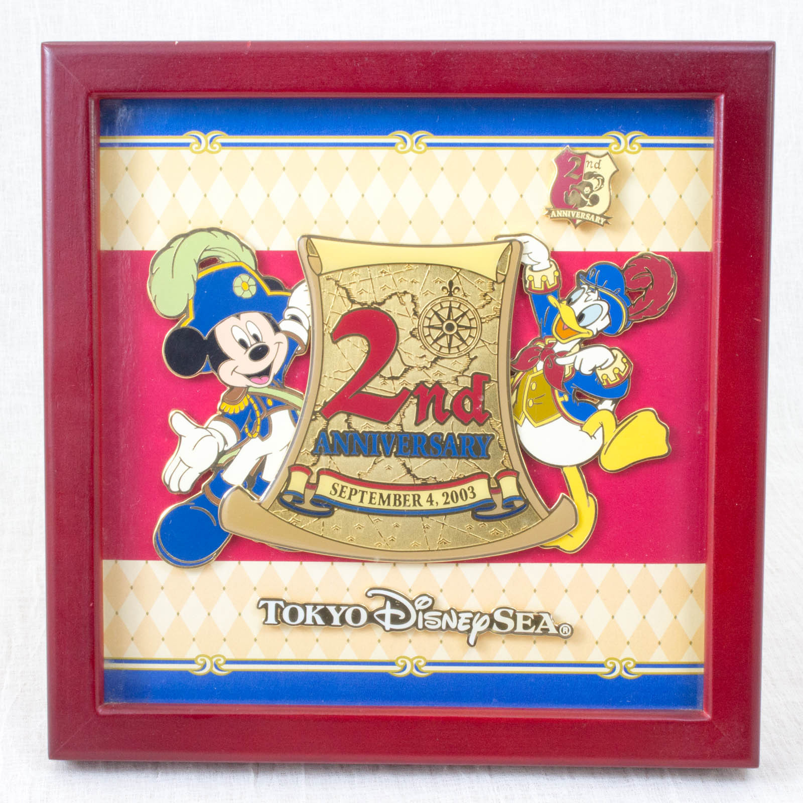 Tokyo Disney Sea Mickey Mouse & Donald Duck Metal Relief Pins 2nd Anniversary