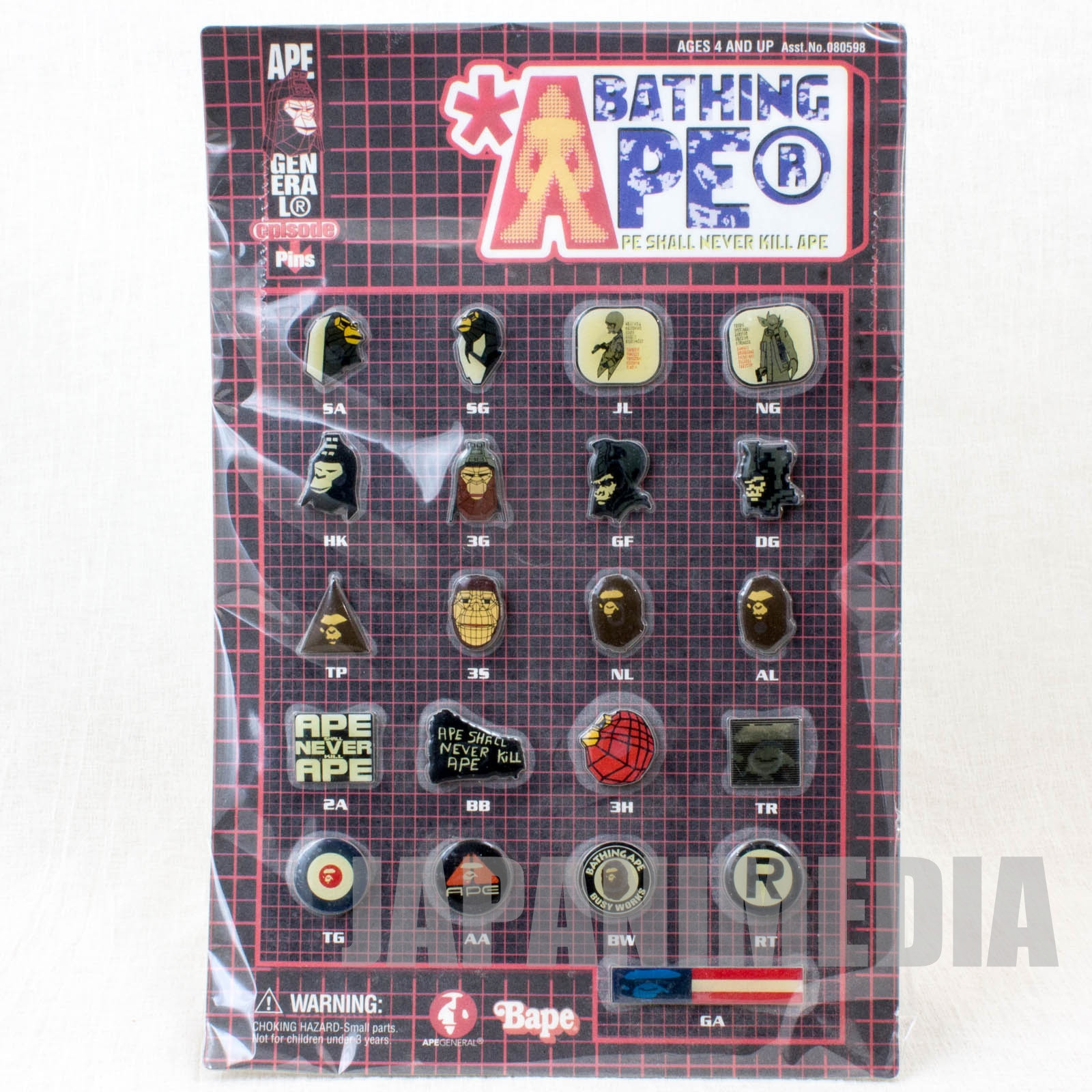 A BATHING APE Ape General episode Pins 21pc set Bape