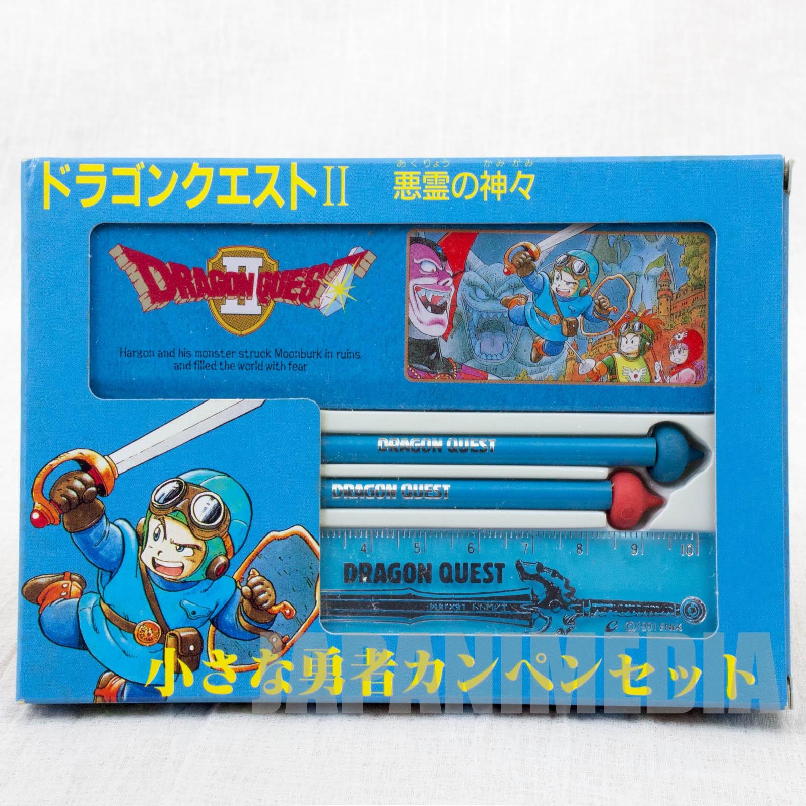 Dragon Quest 2 Mini Stationery set [Can pen case / Pencil / Ruler] ENIX JAPAN GAME