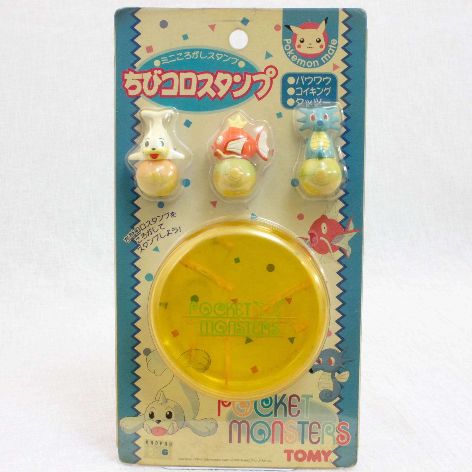 Retro Pokemon Chibikoro Stamp 3pc + Case / Seel & Magikarp & Horsea JAPAN