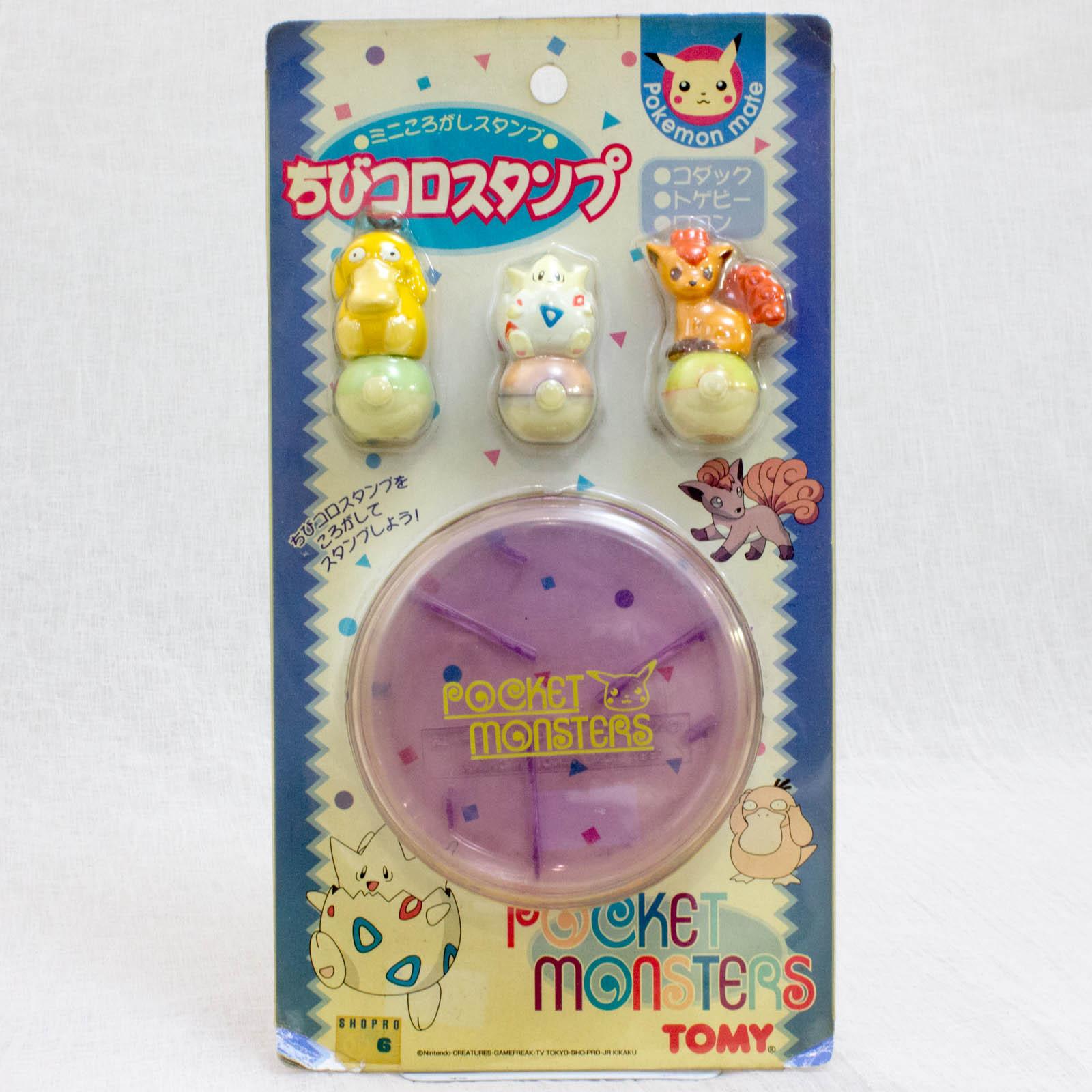 Retro Pokemon Chibikoro Stamp 3pc + Case / Psyduck & Togepi & Vulpix JAPAN