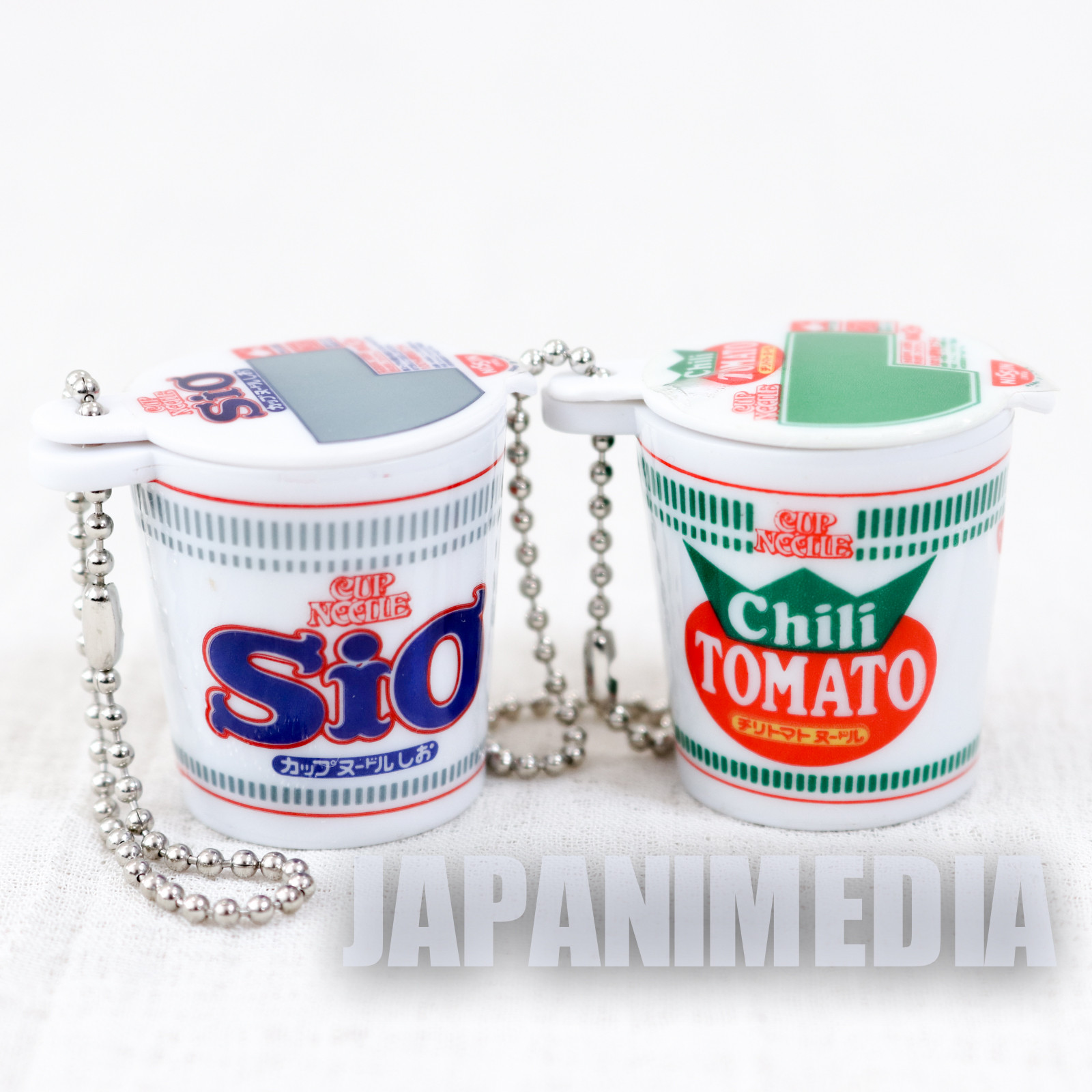Nissin Cup Noodle Sio & Tomato Miniature Mascot Figure Ballchain JAPAN