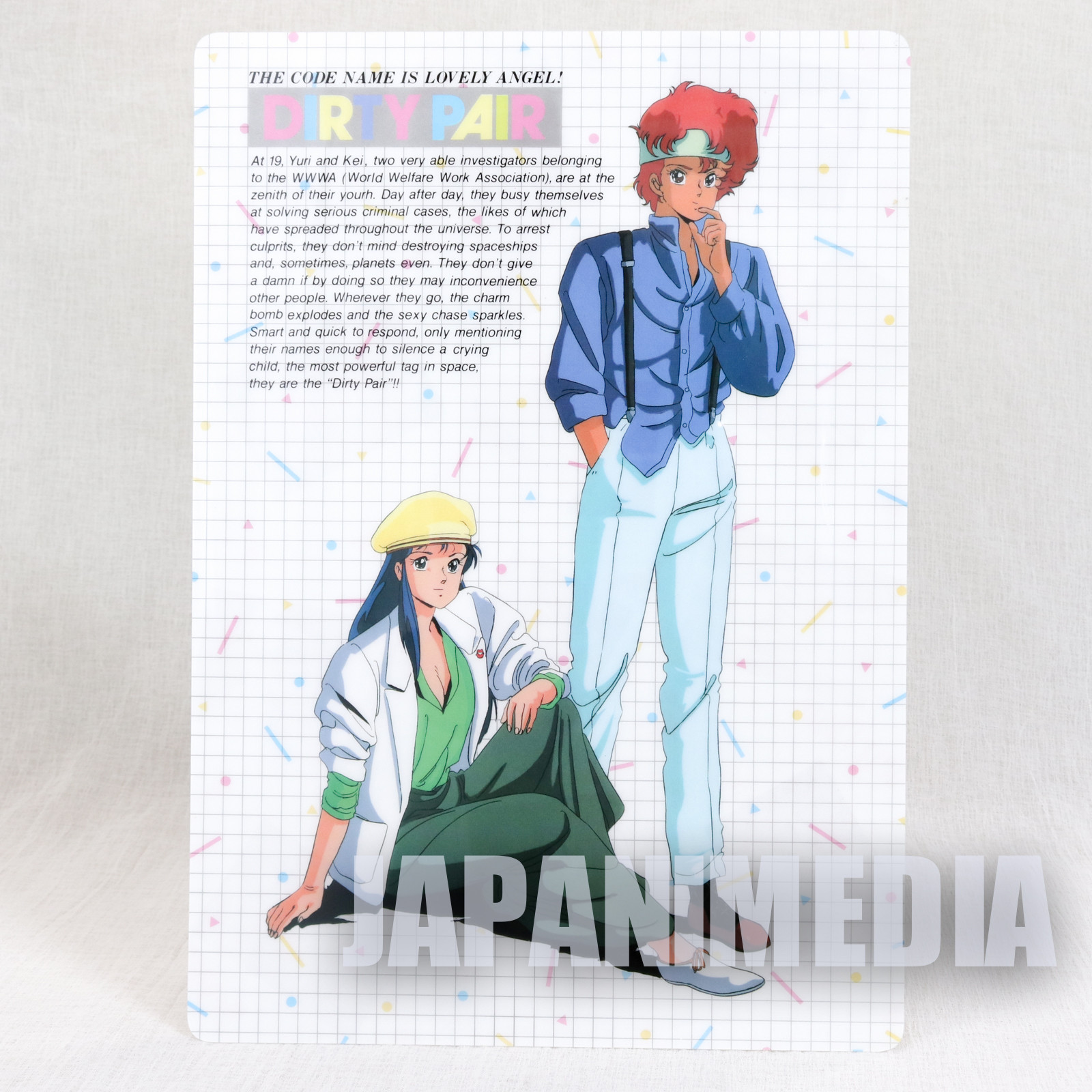 Dirty Pair Lovely Angel Kei & Yuri Plastic Pencil Board Pad Shitajiki JAPAN