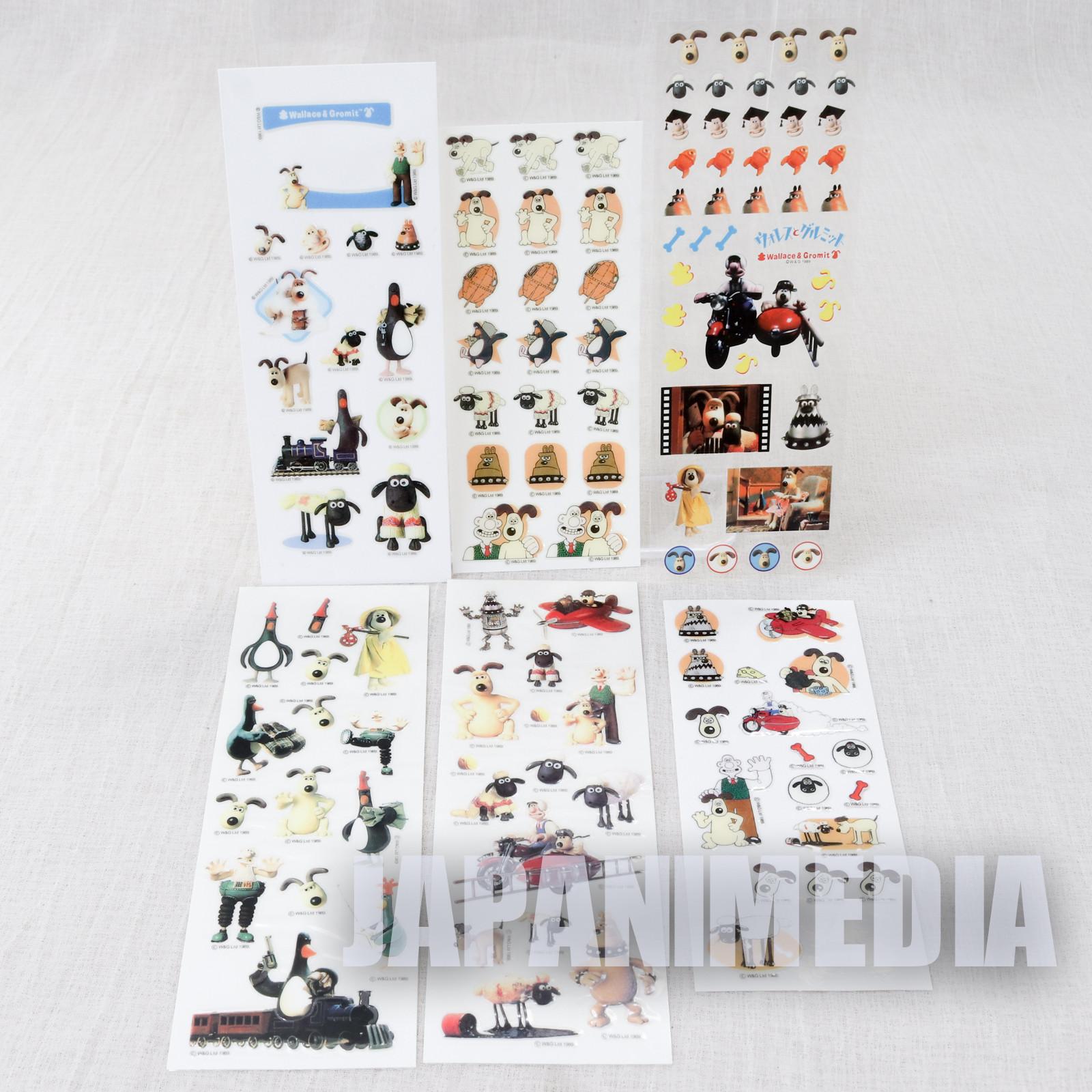 Wallace & Gromit Sticker Sheet 6pc Set JAPAN Ardman ANIME