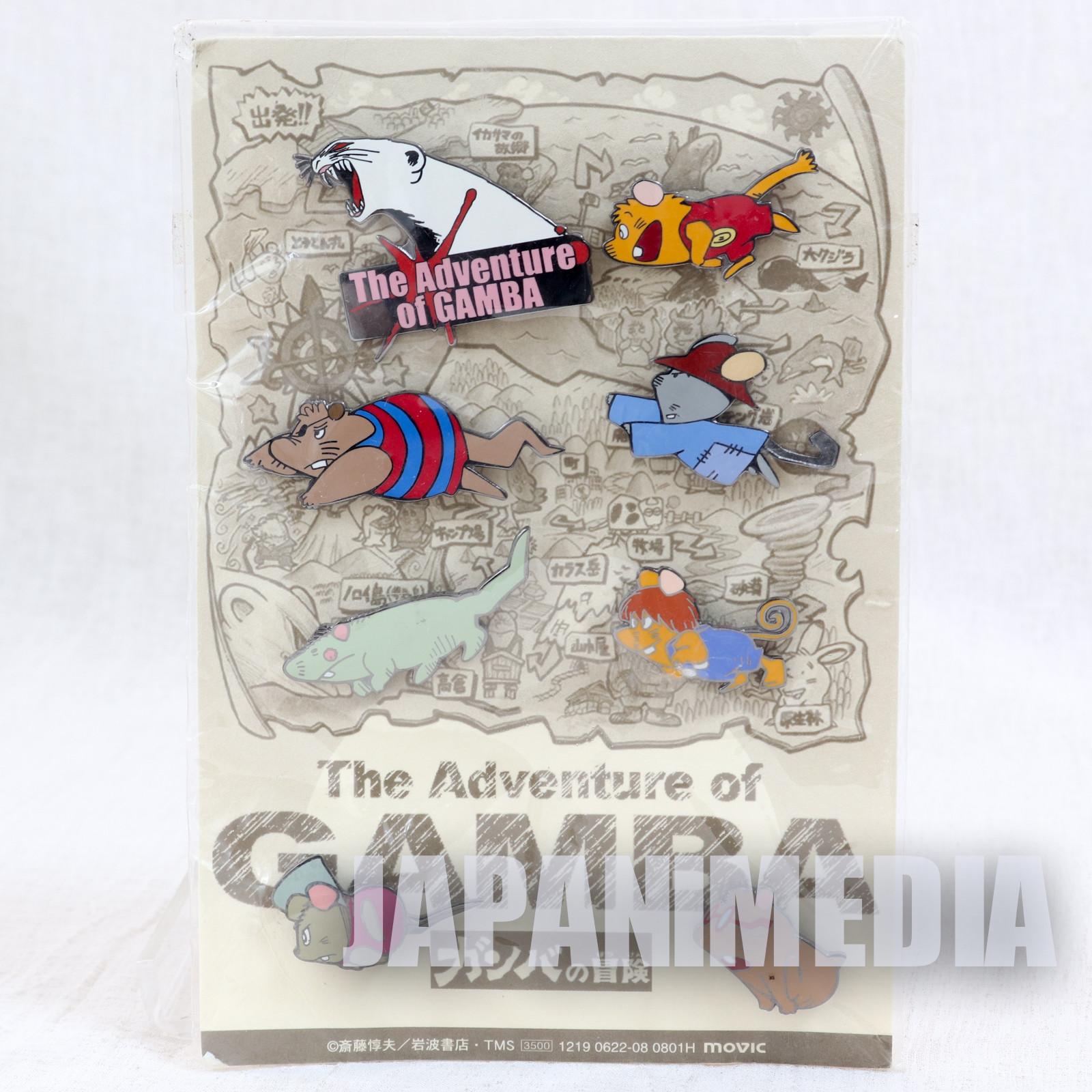 RARE! Gamba no Boken Metal Pins 8pc Set JAPAN ANIME MANGA