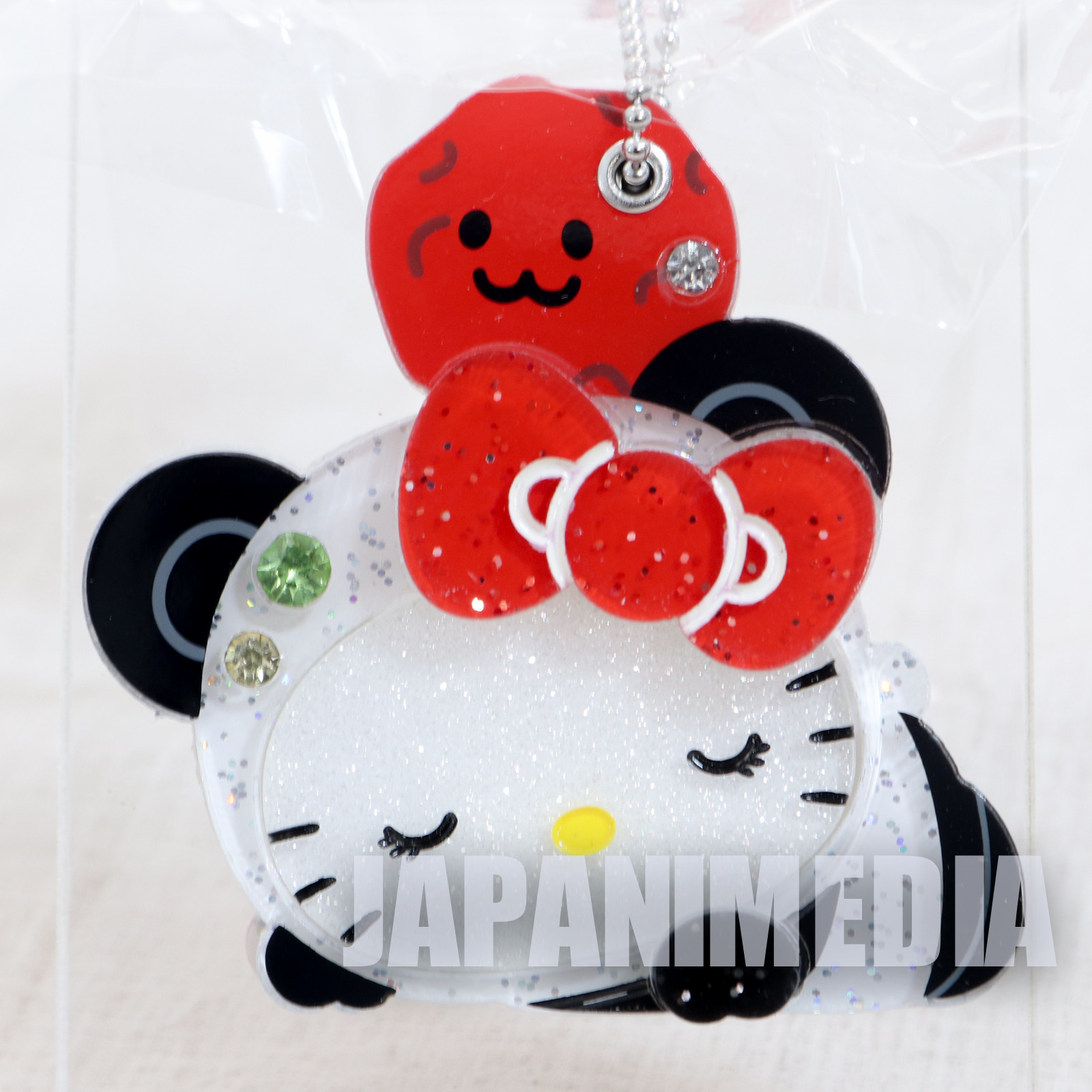 Hello Kitty x Panda Hand Mirror Ballchain Sanrio JAPAN