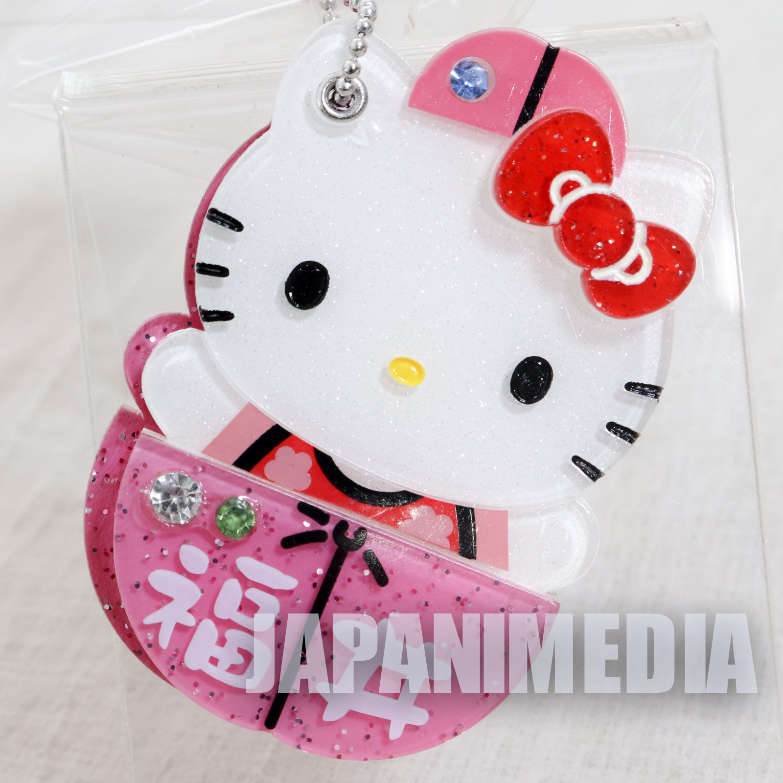 Hello Kitty x Plum Hand Mirror Ballchain Sanrio JAPAN