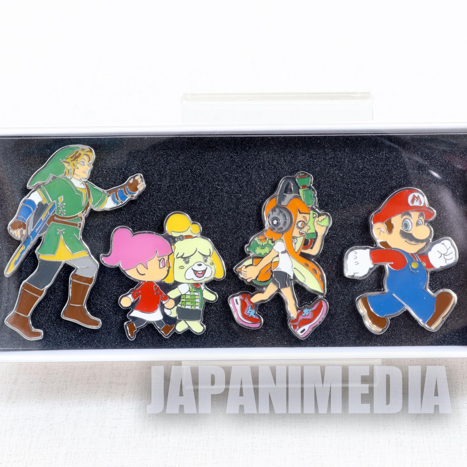 Nintendo Tokyo Pins 4pc Set Mario Splatoon Animal Crossing Legend of Zelda JAPAN