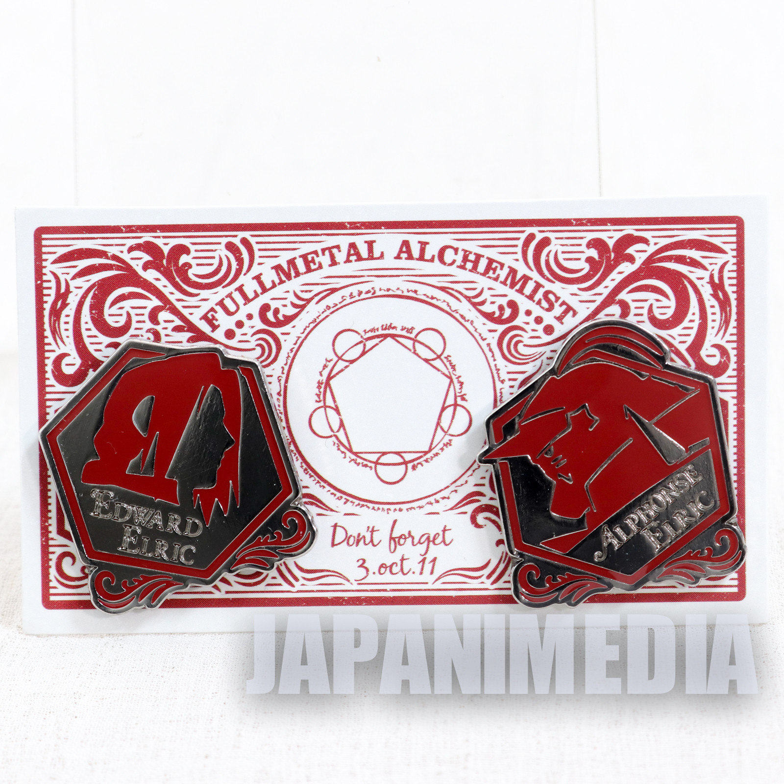 FullMetal Alchemist Edward Elric Metal Pins 2pc set JAPAN ANIME